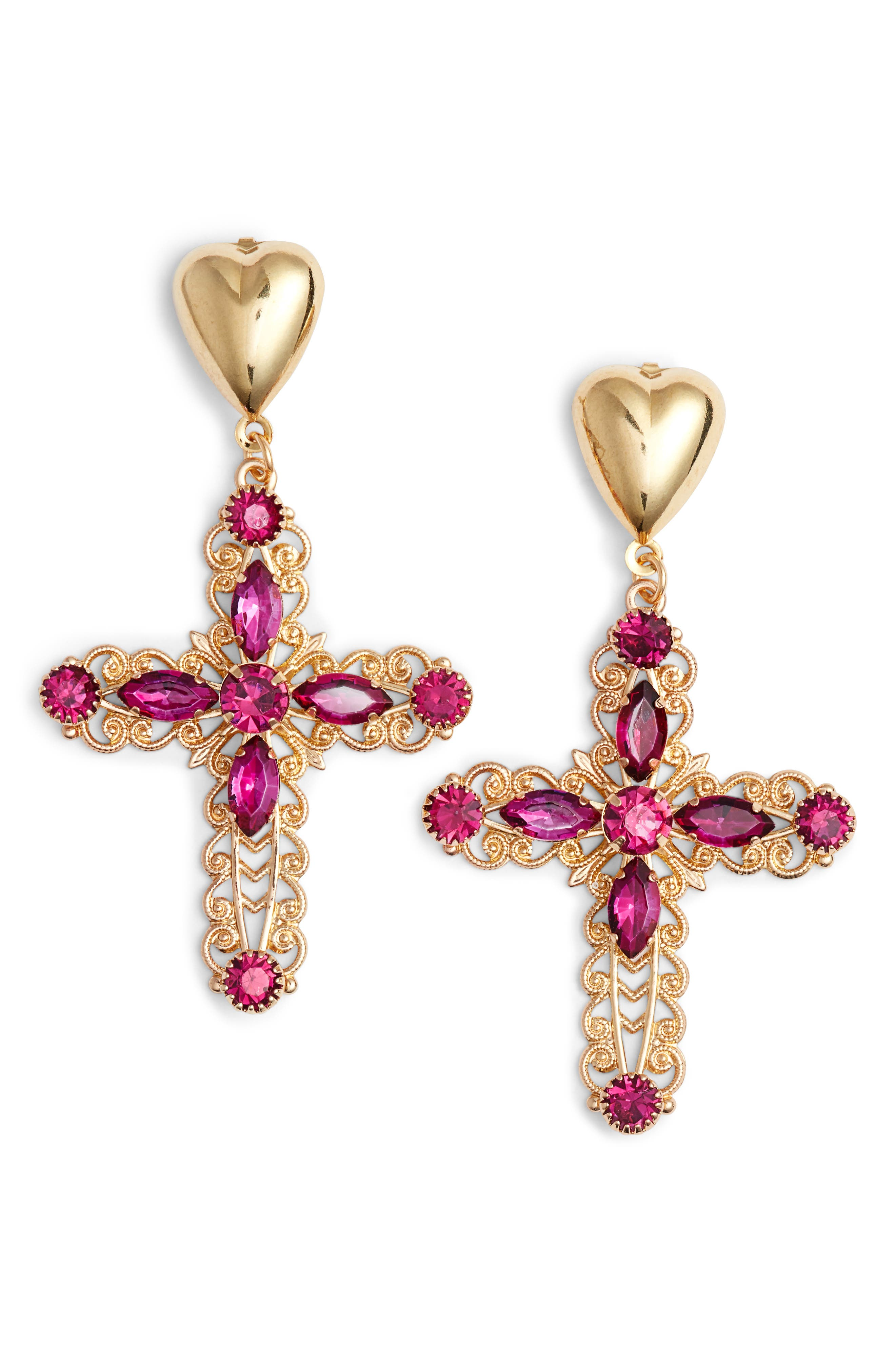 Crystal Cross Drop Earrings,                         Main,                         color, Gold/ Purple