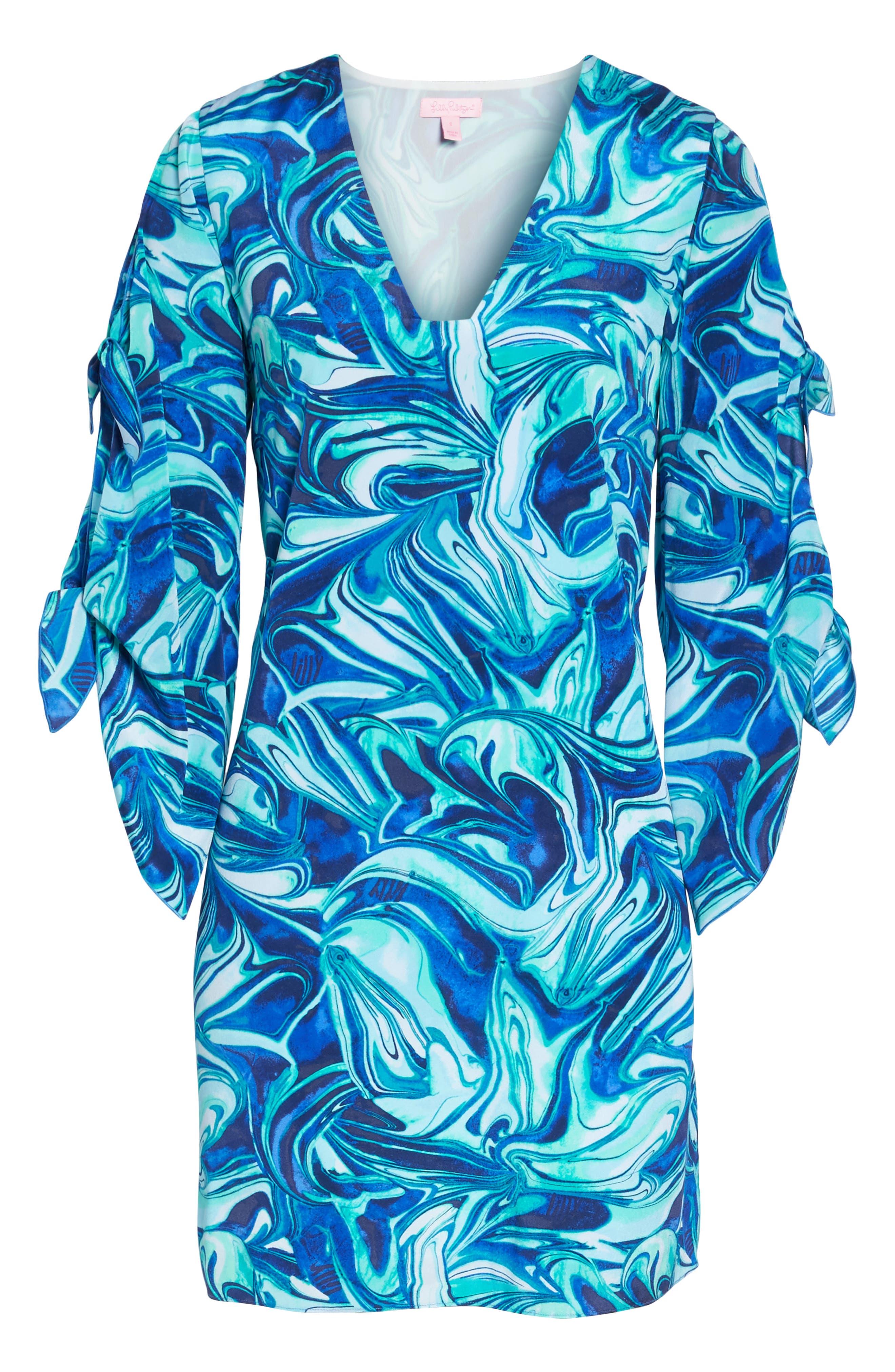 Avila Shift Dress,                             Alternate thumbnail 6, color,                             Ikat Blue Ocean Waves