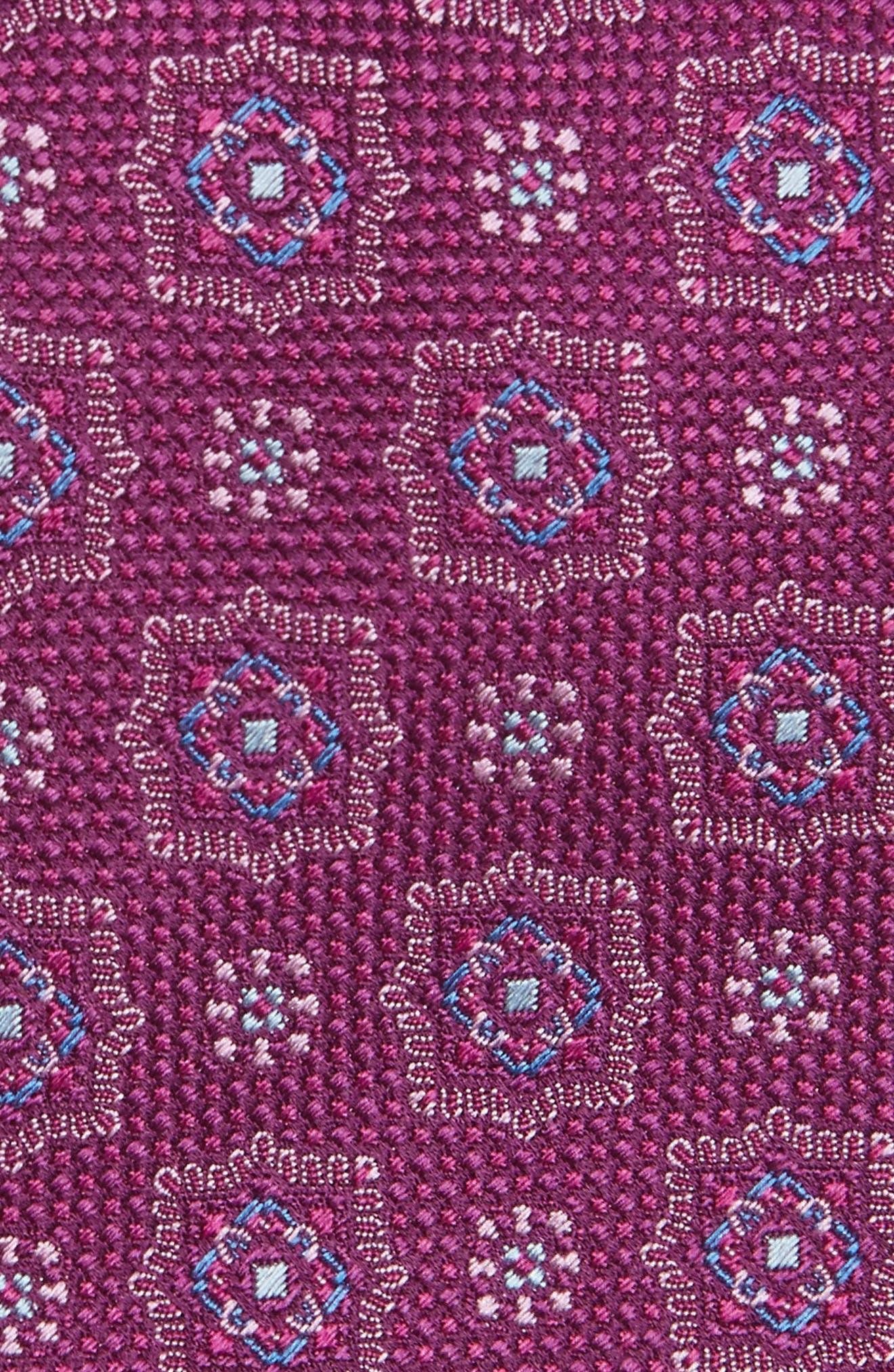 Medallion Silk Tie,                             Alternate thumbnail 2, color,                             Plum