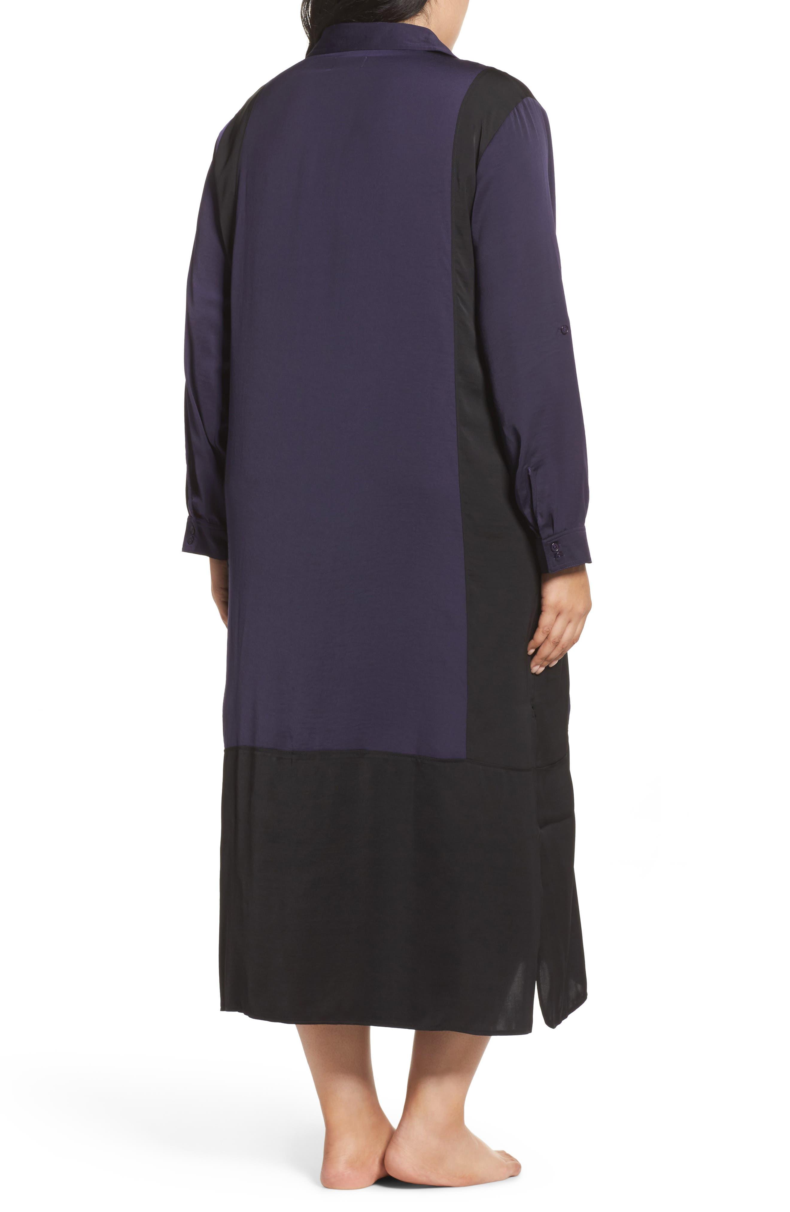 Alternate Image 2  - DKNY Satin Maxi Sleep Shirt (Plus Size)