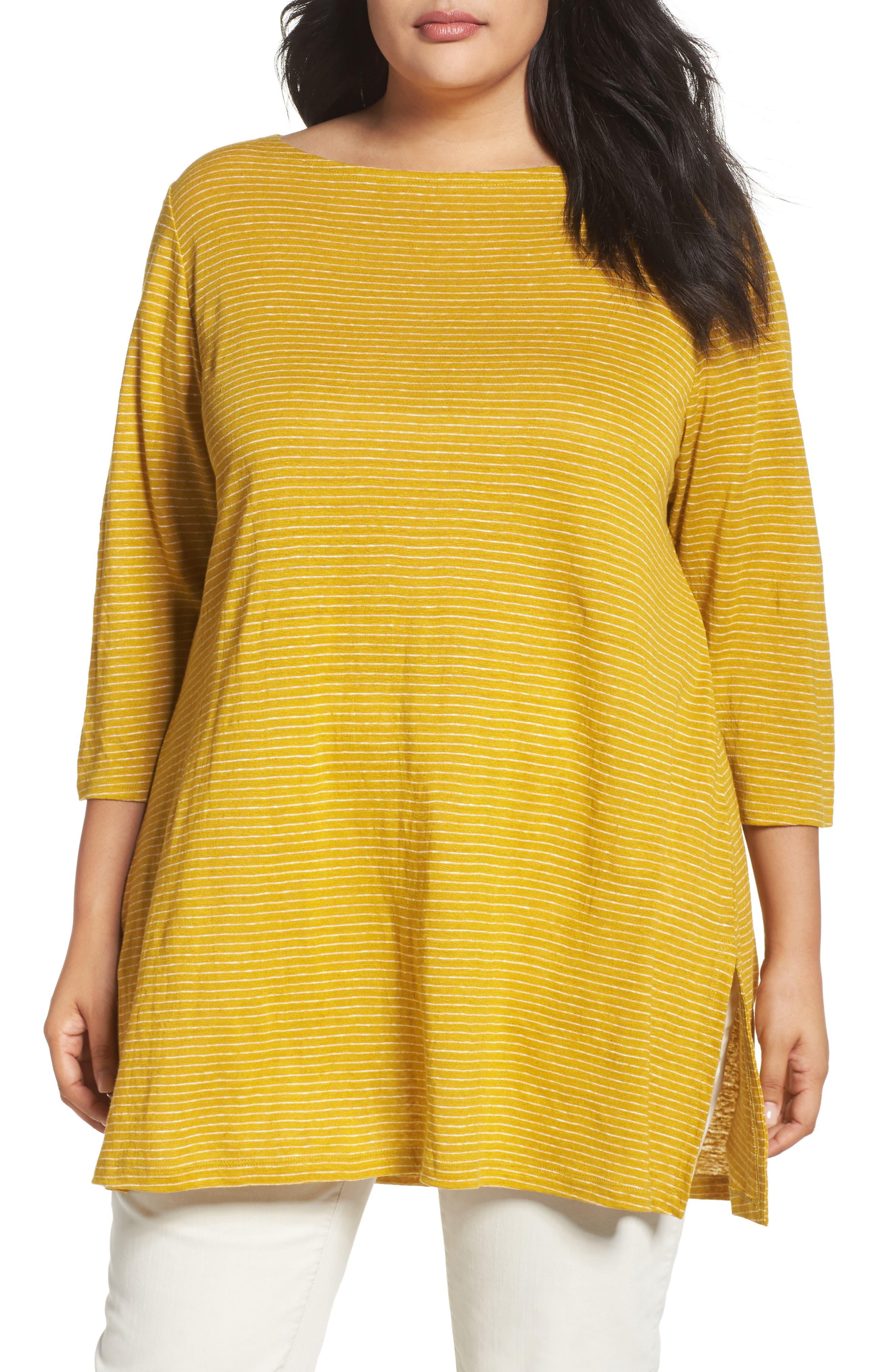 Eileen Fisher Stripe Organic Linen Tunic (Plus Size)