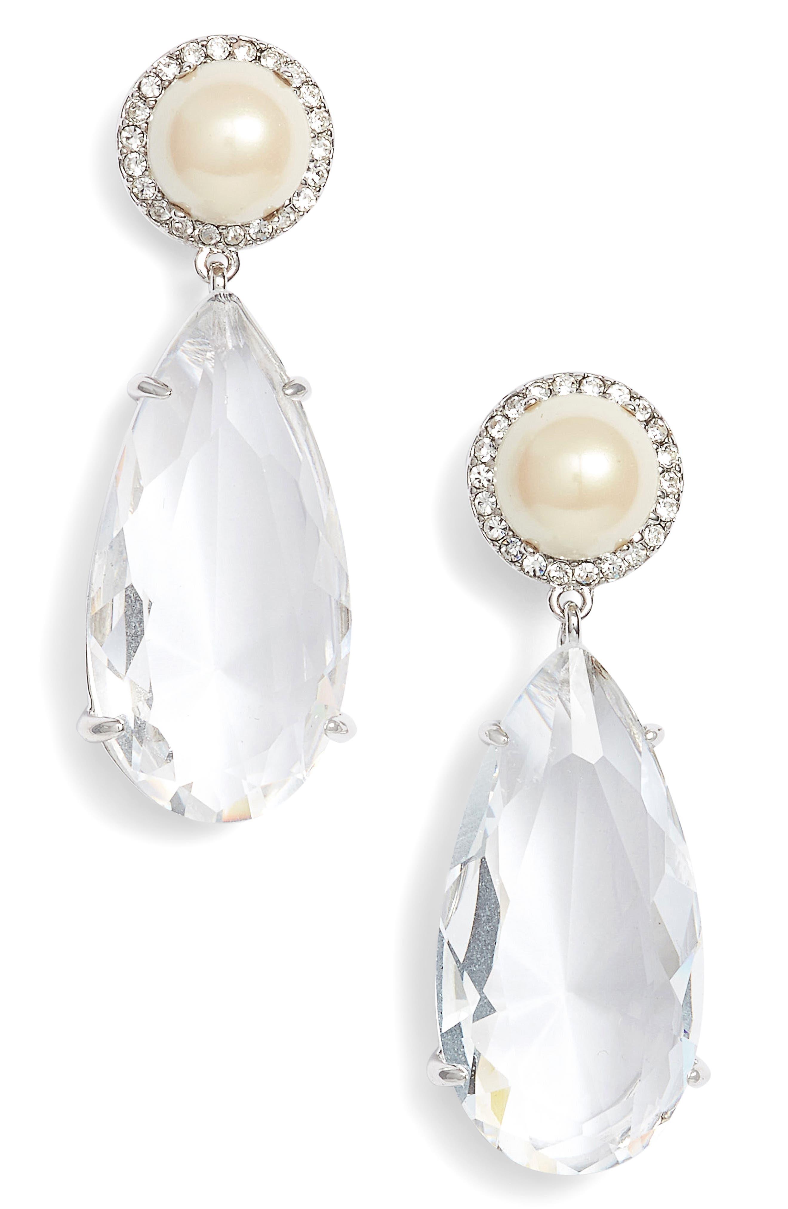 glitz & glam crystal drop earrings,                         Main,                         color, Cream/ Silver