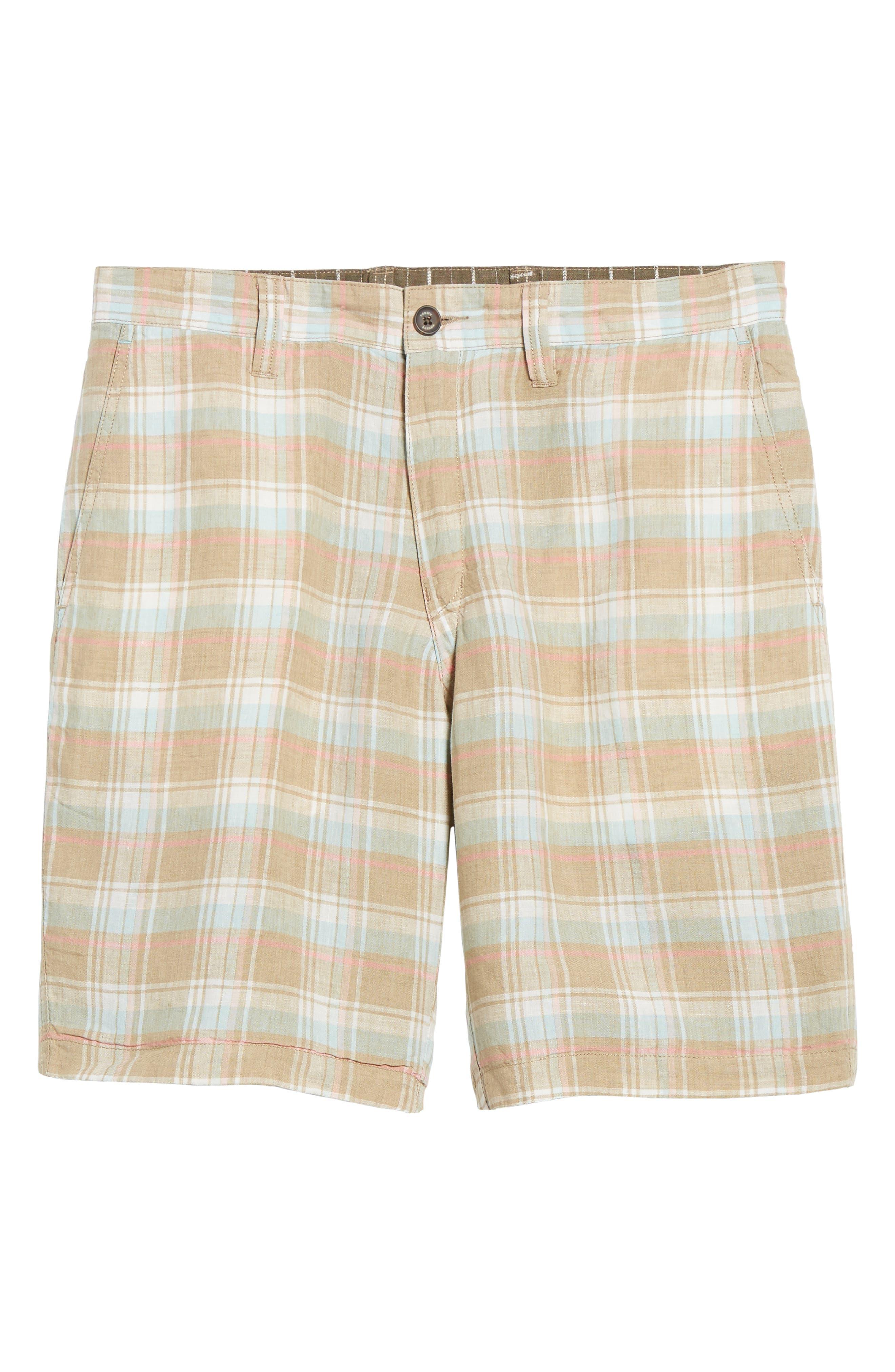 Plaid De Leon Reversible Shorts,                             Alternate thumbnail 7, color,                             Stone Khaki