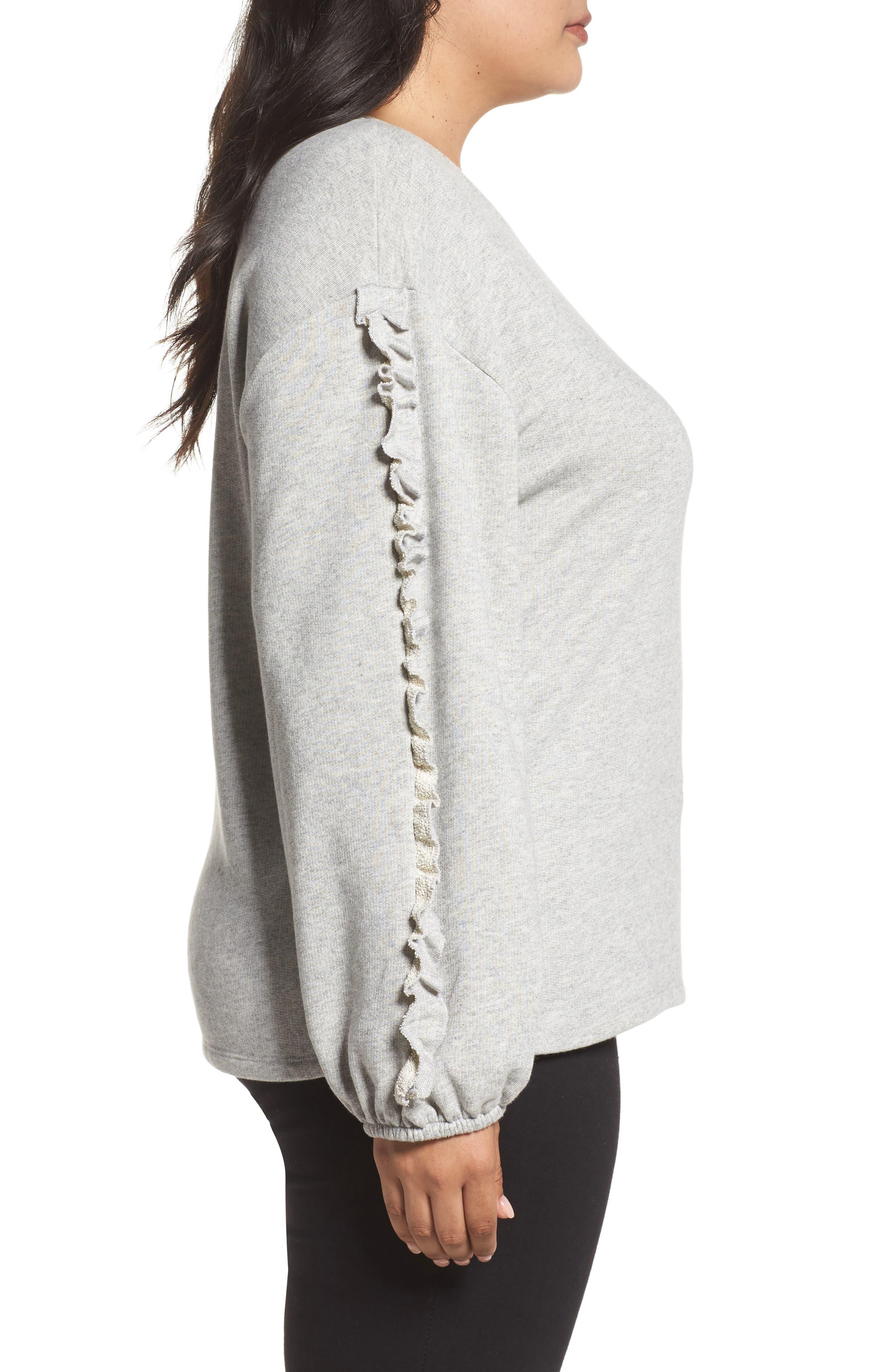 Ruffle Sleeve Sweatshirt,                             Alternate thumbnail 3, color,                             Grey Heather