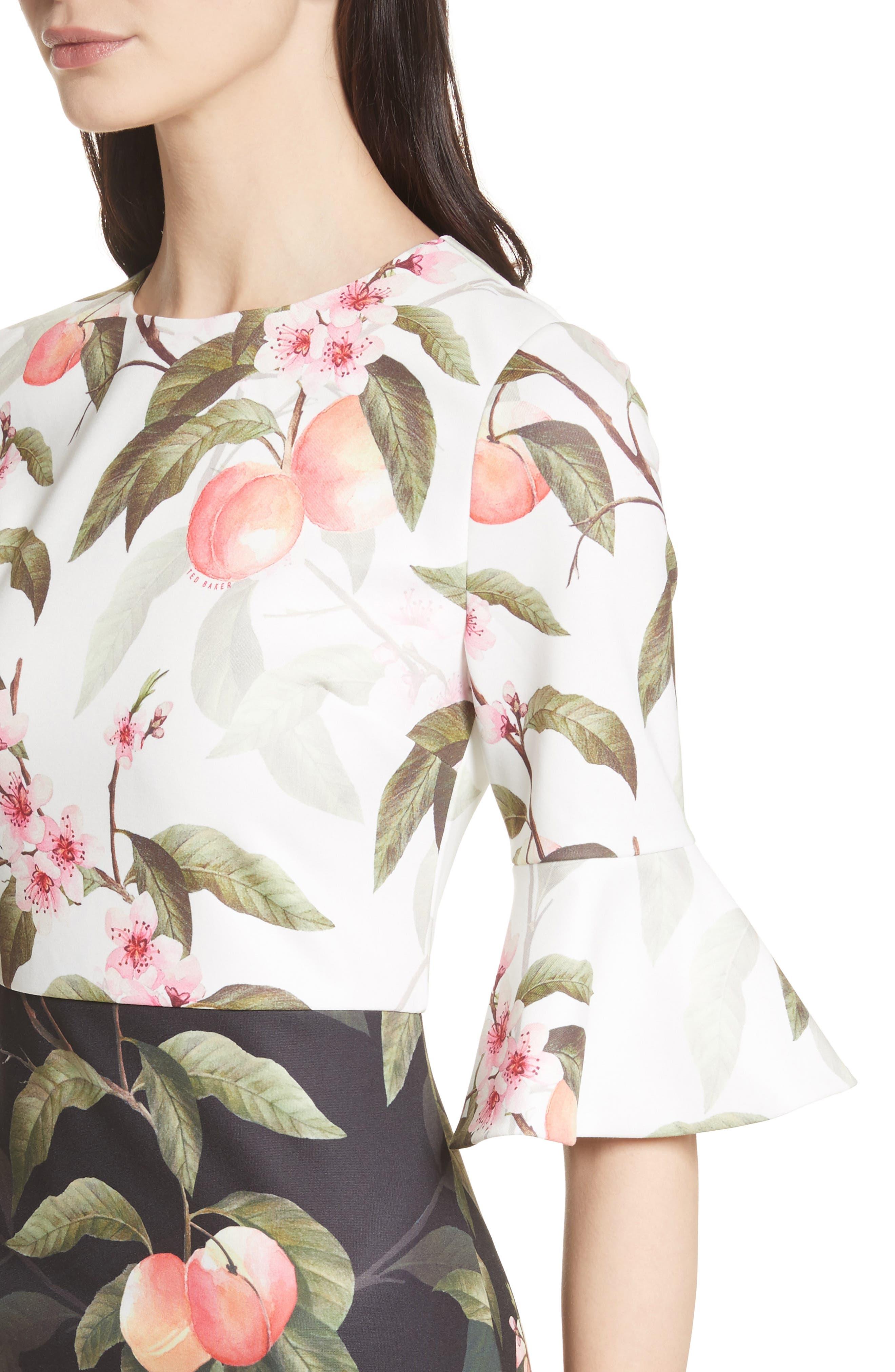 Peach Blossom Sheath Dress,                             Alternate thumbnail 4, color,                             Black
