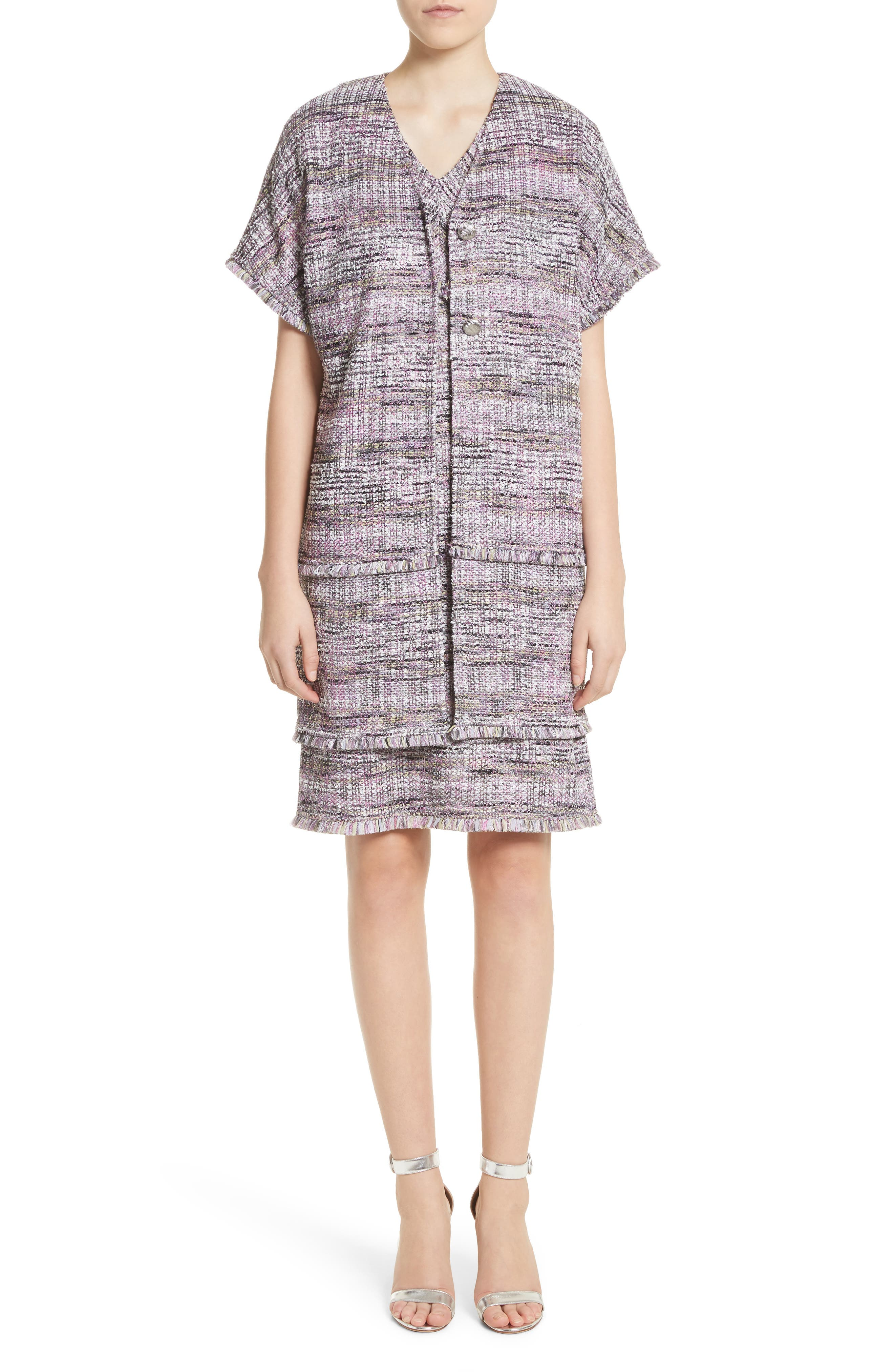 Anna Stripe Tweed Dress,                             Alternate thumbnail 8, color,                             Orchid Multi