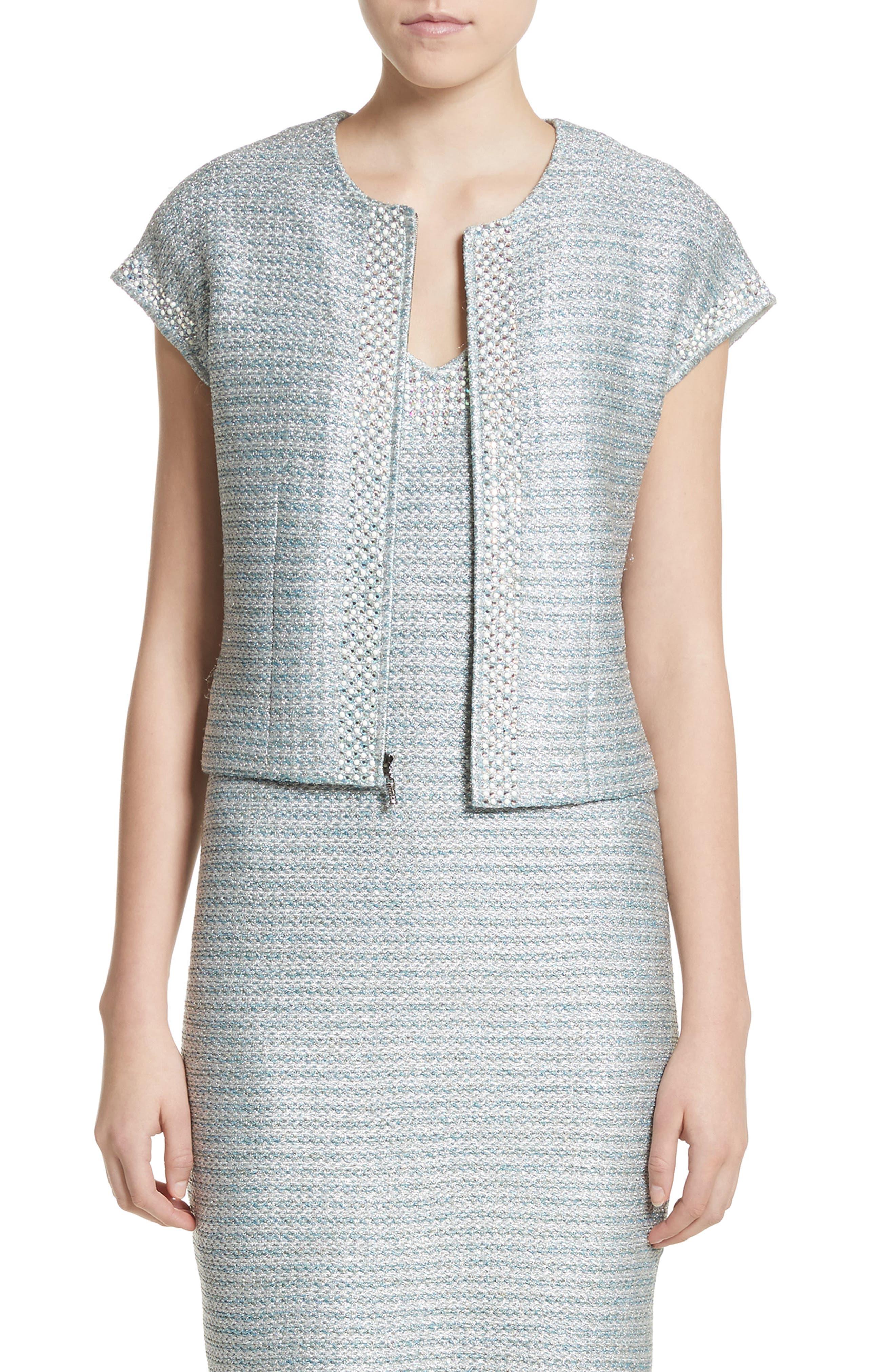 Gleam Metallic Knit Bolero,                         Main,                         color, Mint Multi