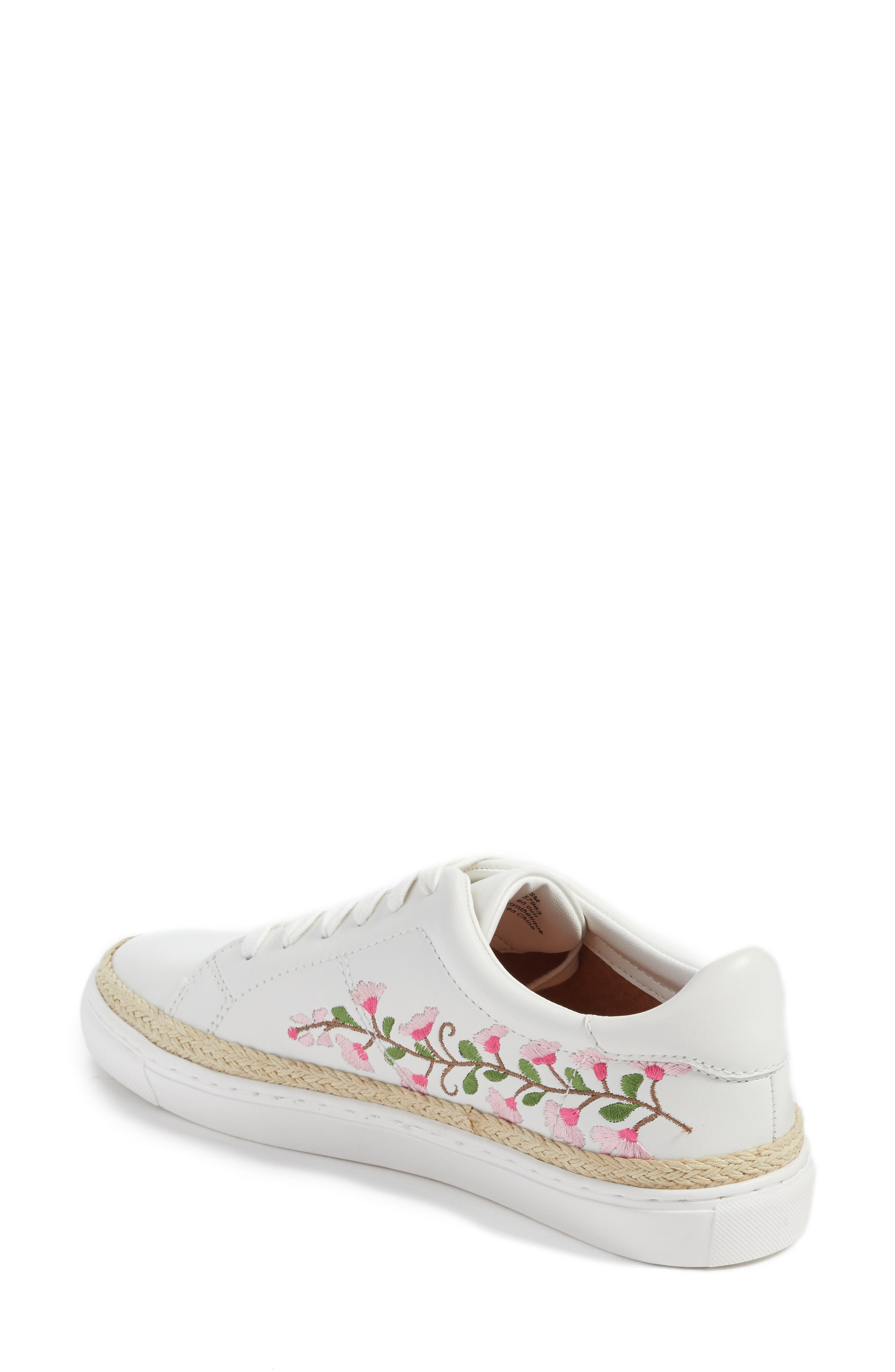 Perry Lea Embroidered Sneaker,                             Alternate thumbnail 2, color,                             White Leather