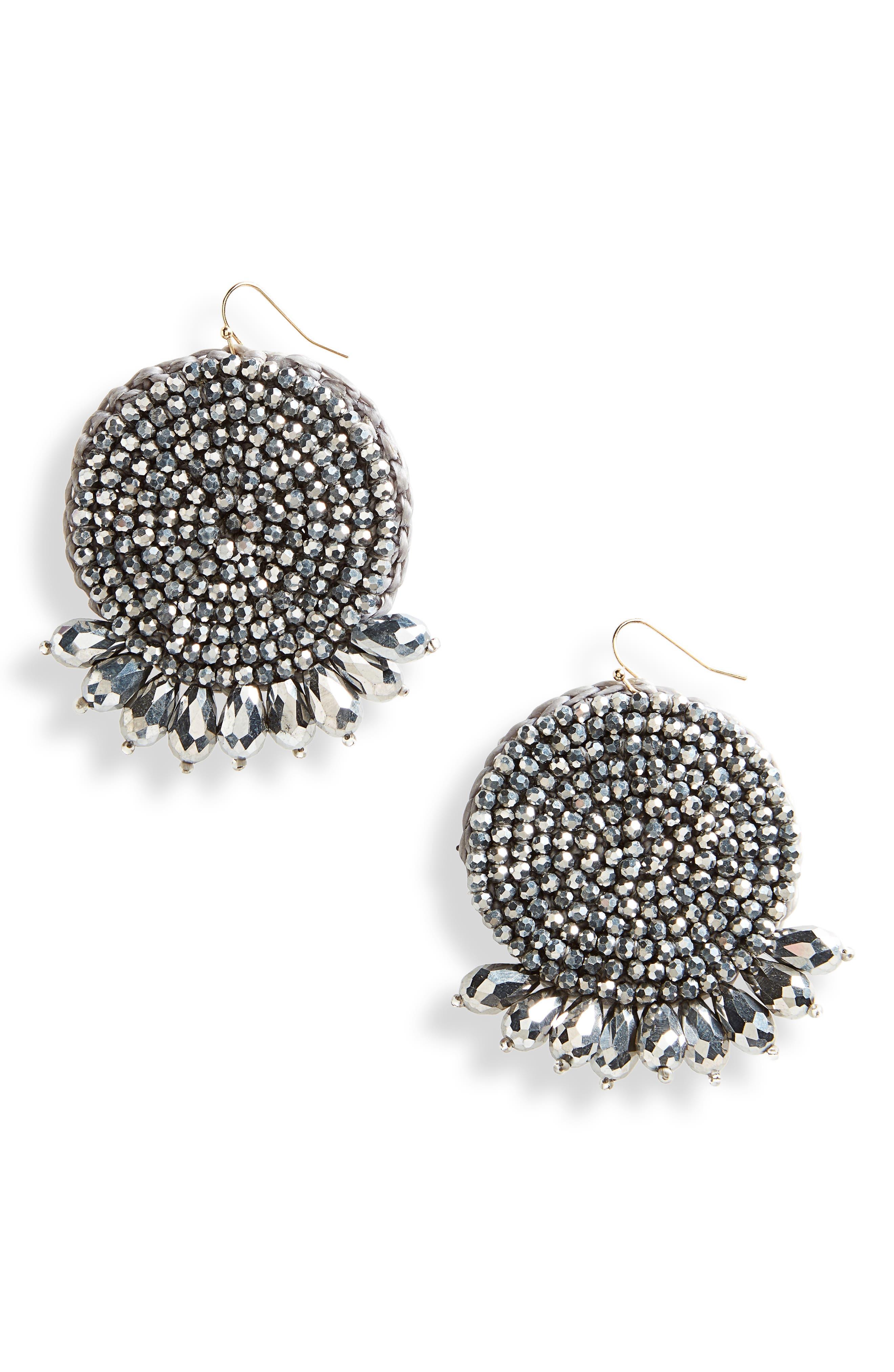 Beaded Drop Earrings,                         Main,                         color, Hematite