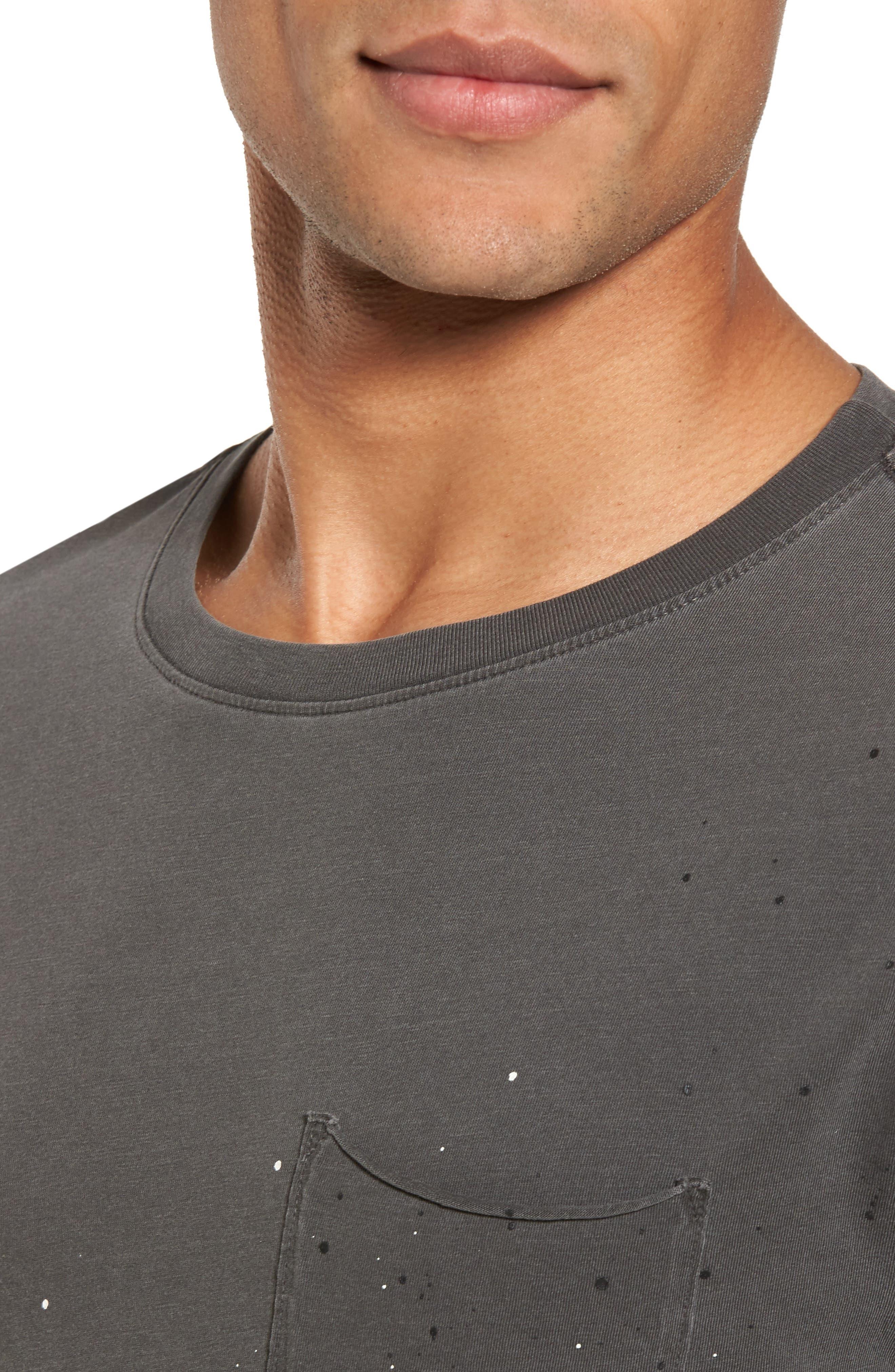 Anders Slim Fit Pocket T-Shirt,                             Alternate thumbnail 4, color,                             Multi Splatter Pigment Black