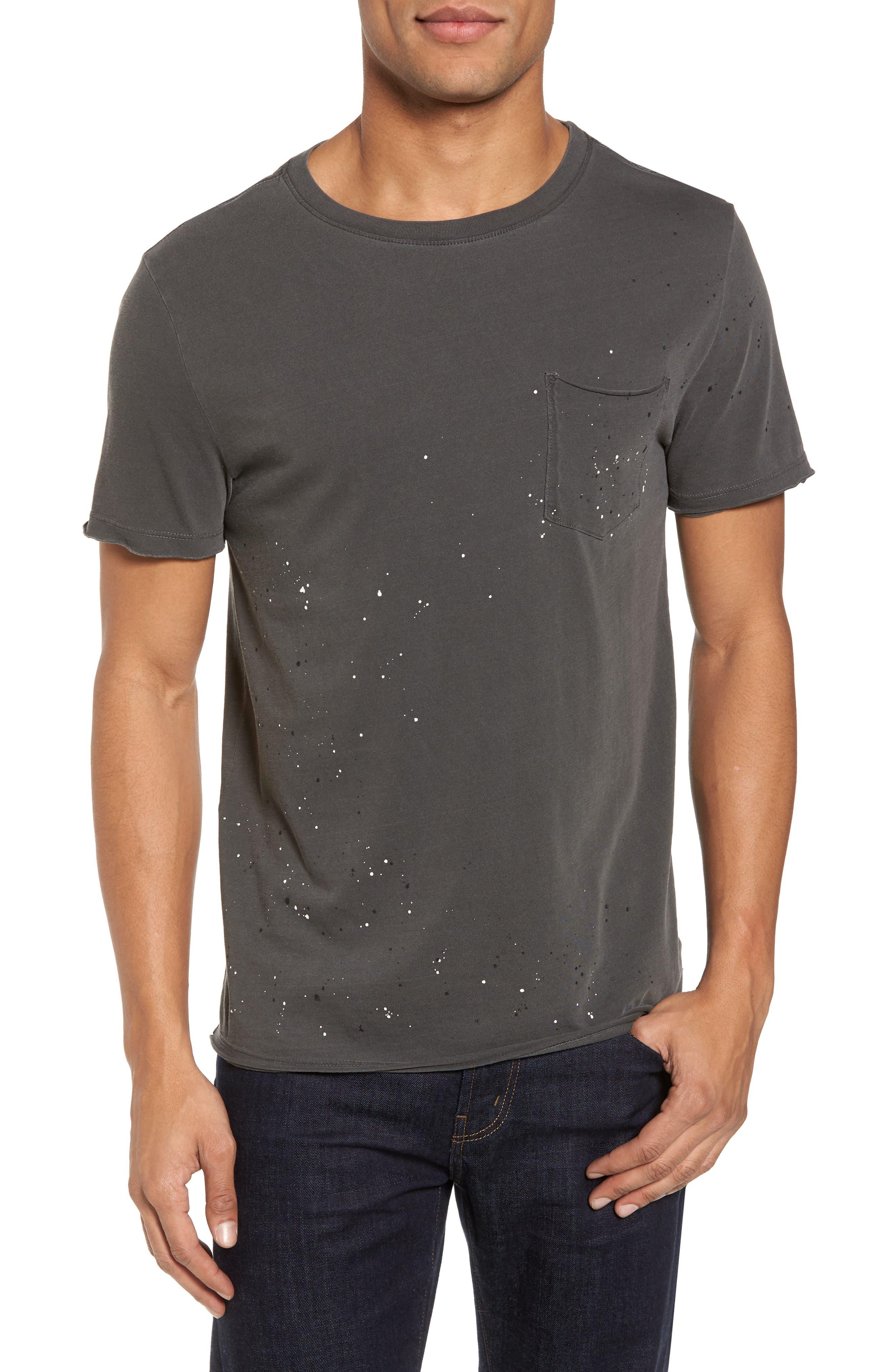 Anders Slim Fit Pocket T-Shirt,                             Main thumbnail 1, color,                             Multi Splatter Pigment Black