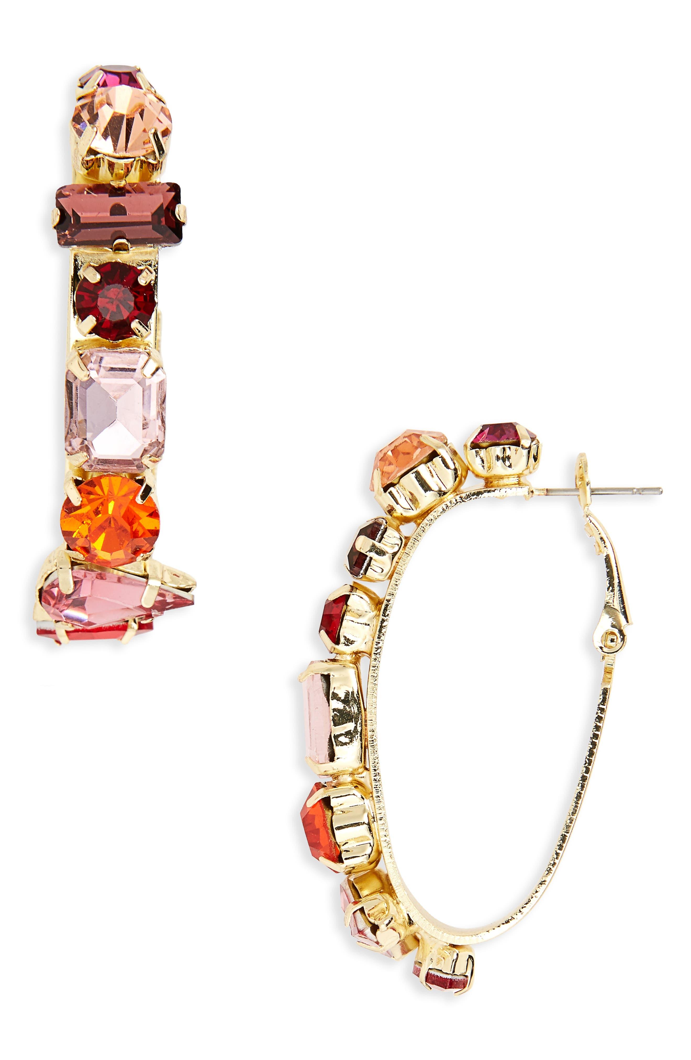 Crystal Hoop Earrings,                         Main,                         color, Gold/ Pink
