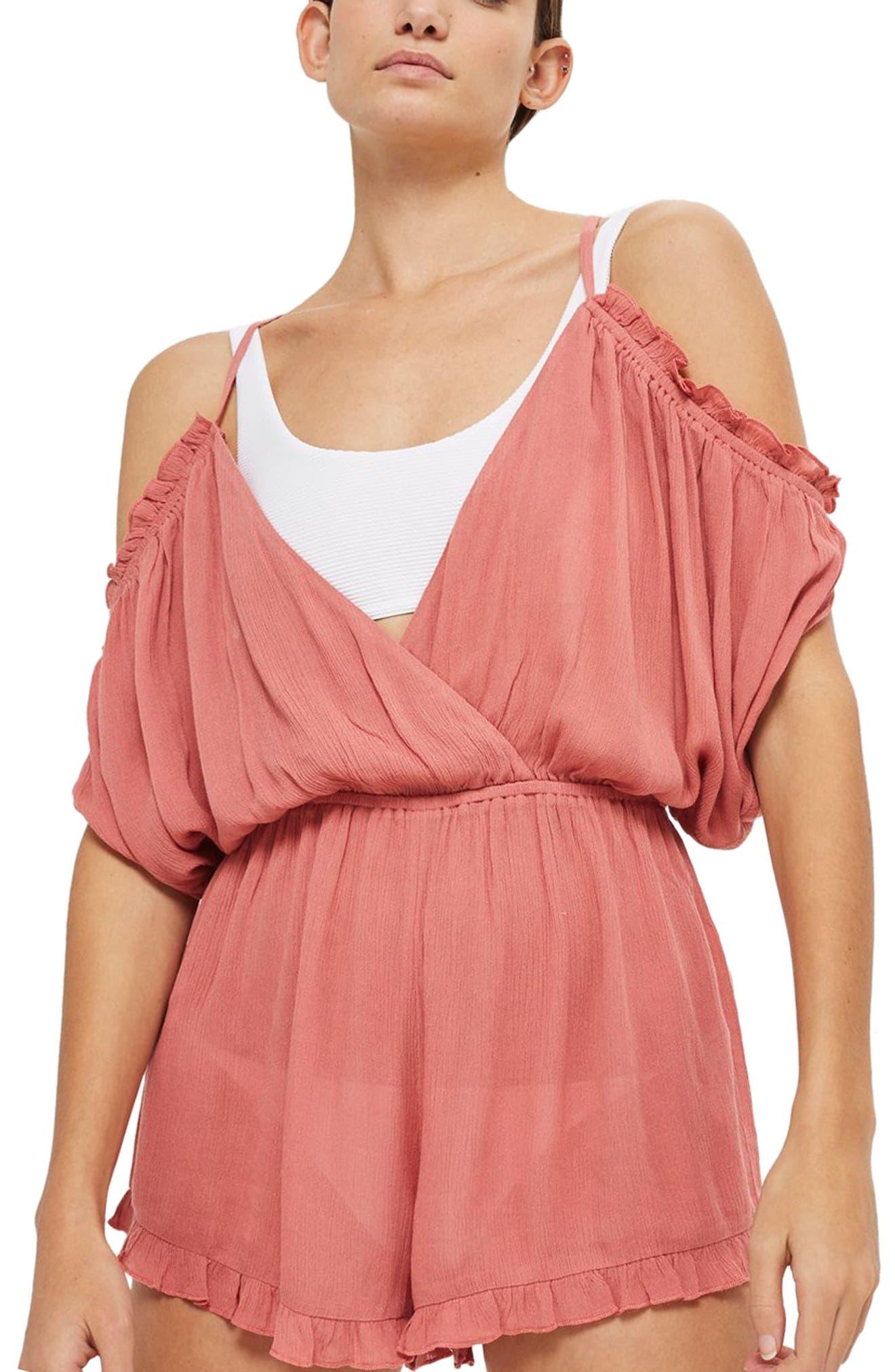 Gauze Cold Shoulder Cover-Up Romper,                         Main,                         color, Blush