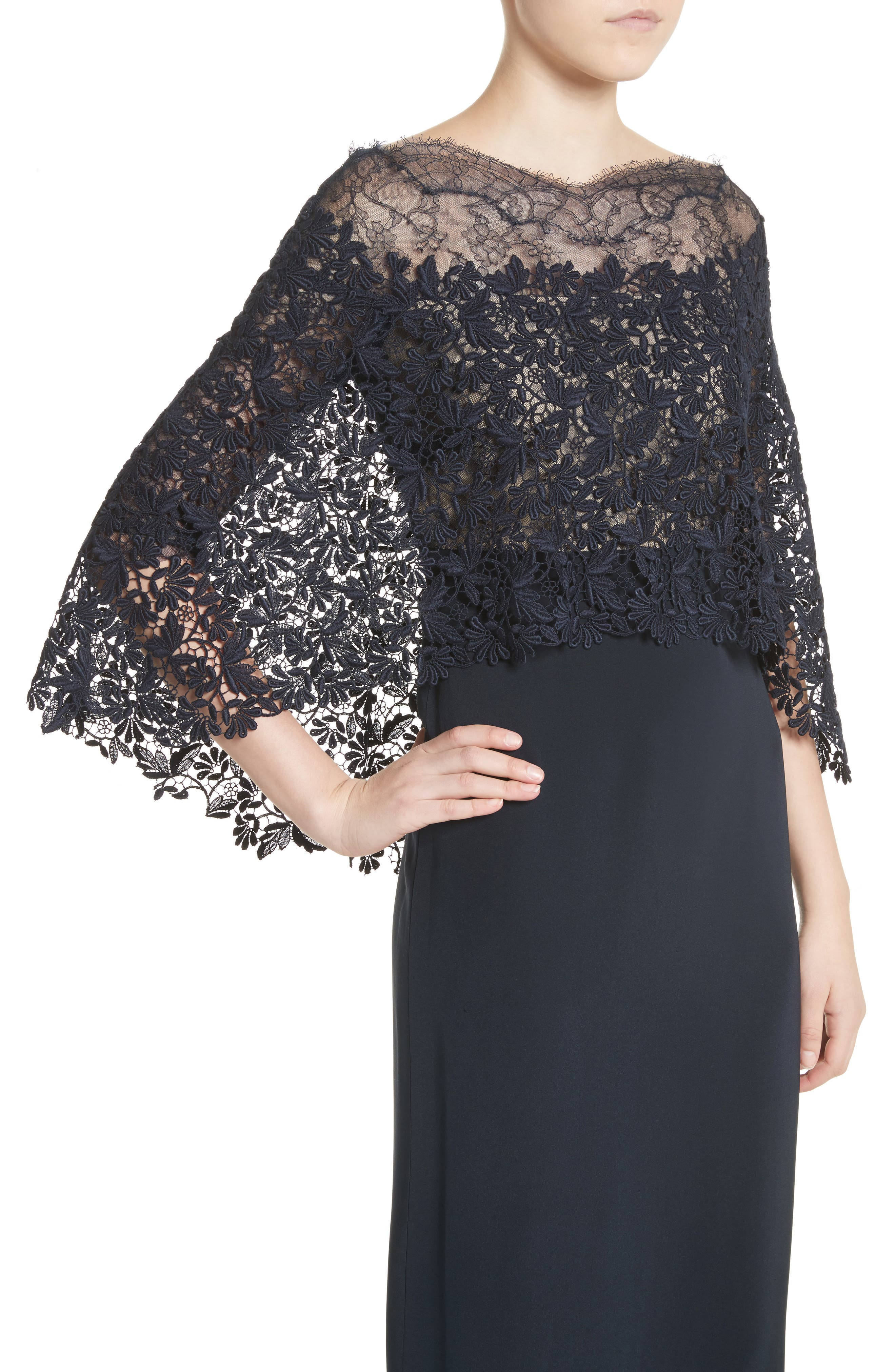 Column Gown with Integrated Lace Capelet,                             Alternate thumbnail 2, color,                             Midnight