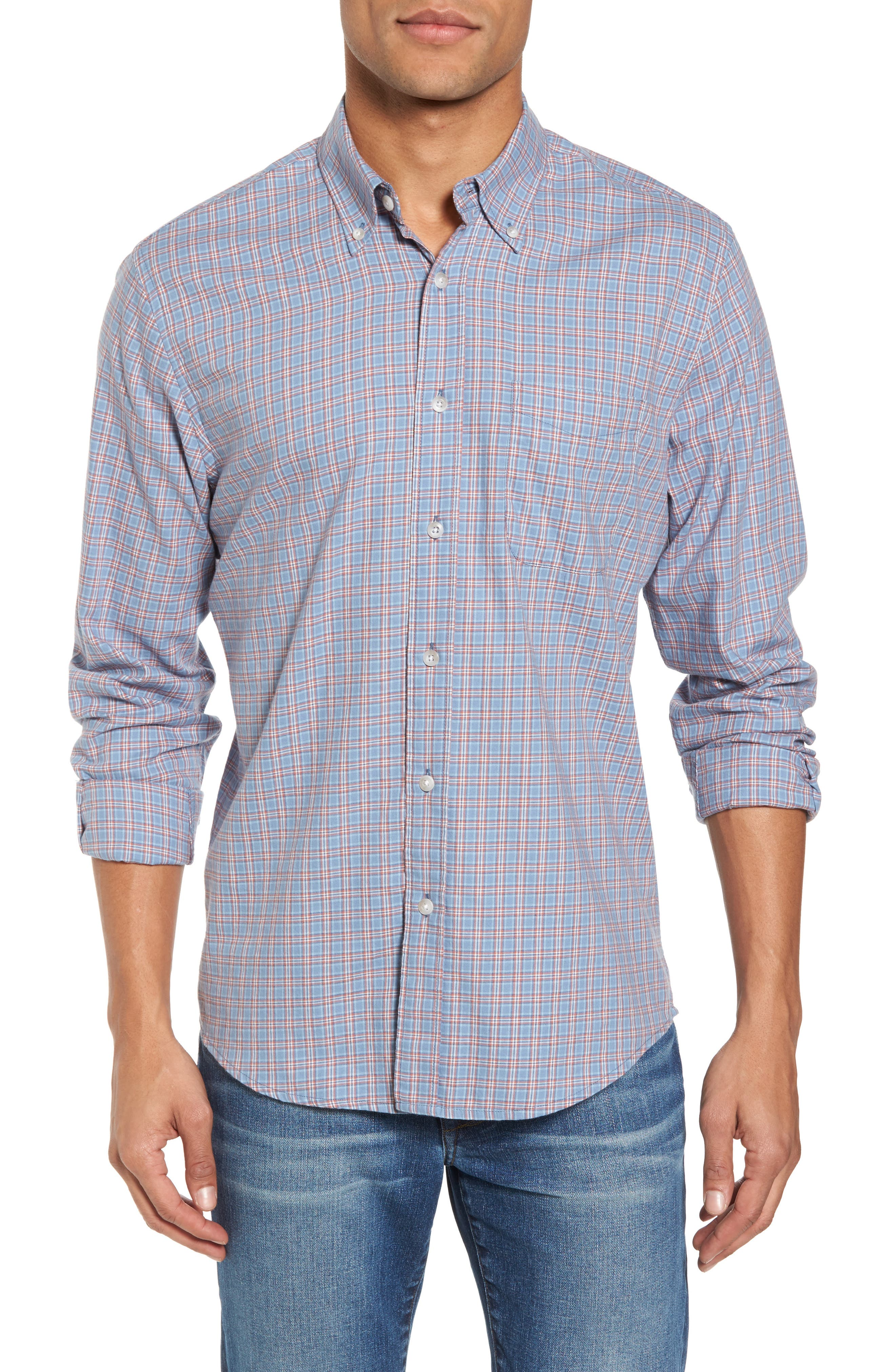 Ventura Plaid Sport Shirt,                             Main thumbnail 1, color,                             Light Blue Autumn Check
