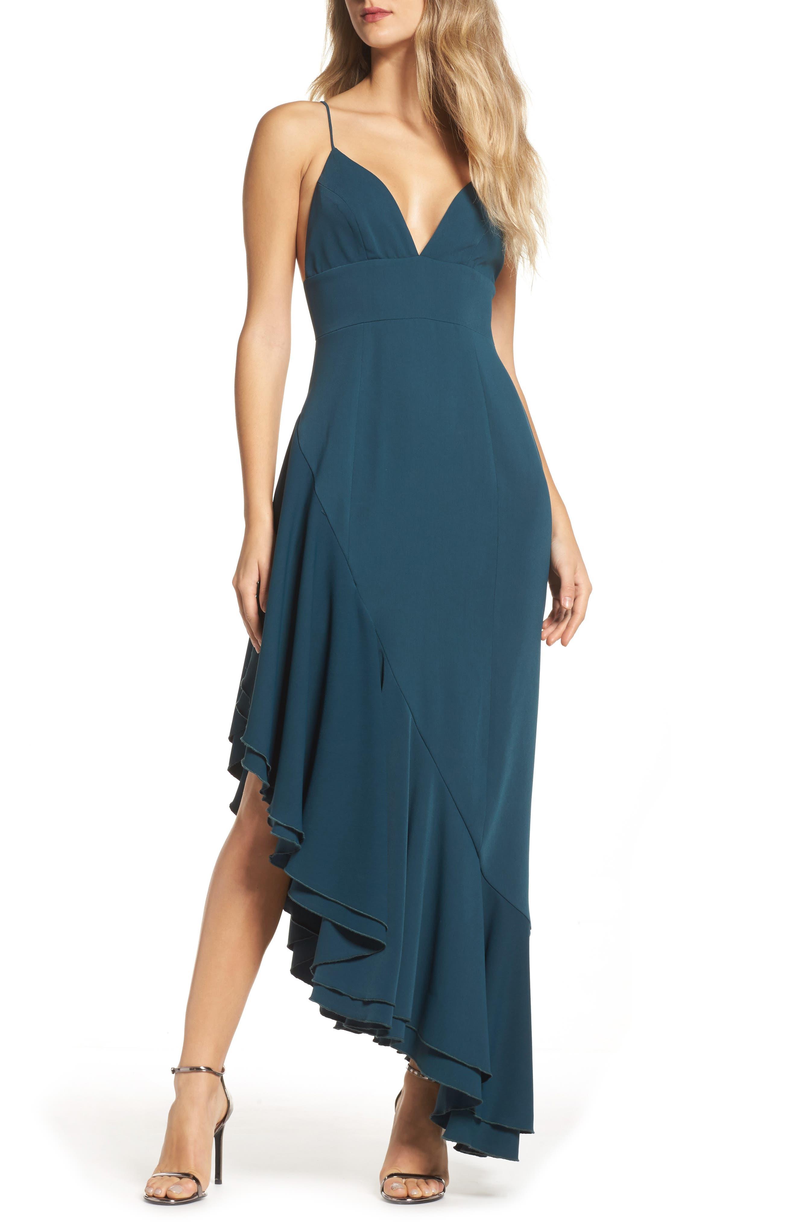 Temptation Asymmetrical Gown,                             Main thumbnail 1, color,                             Emerald