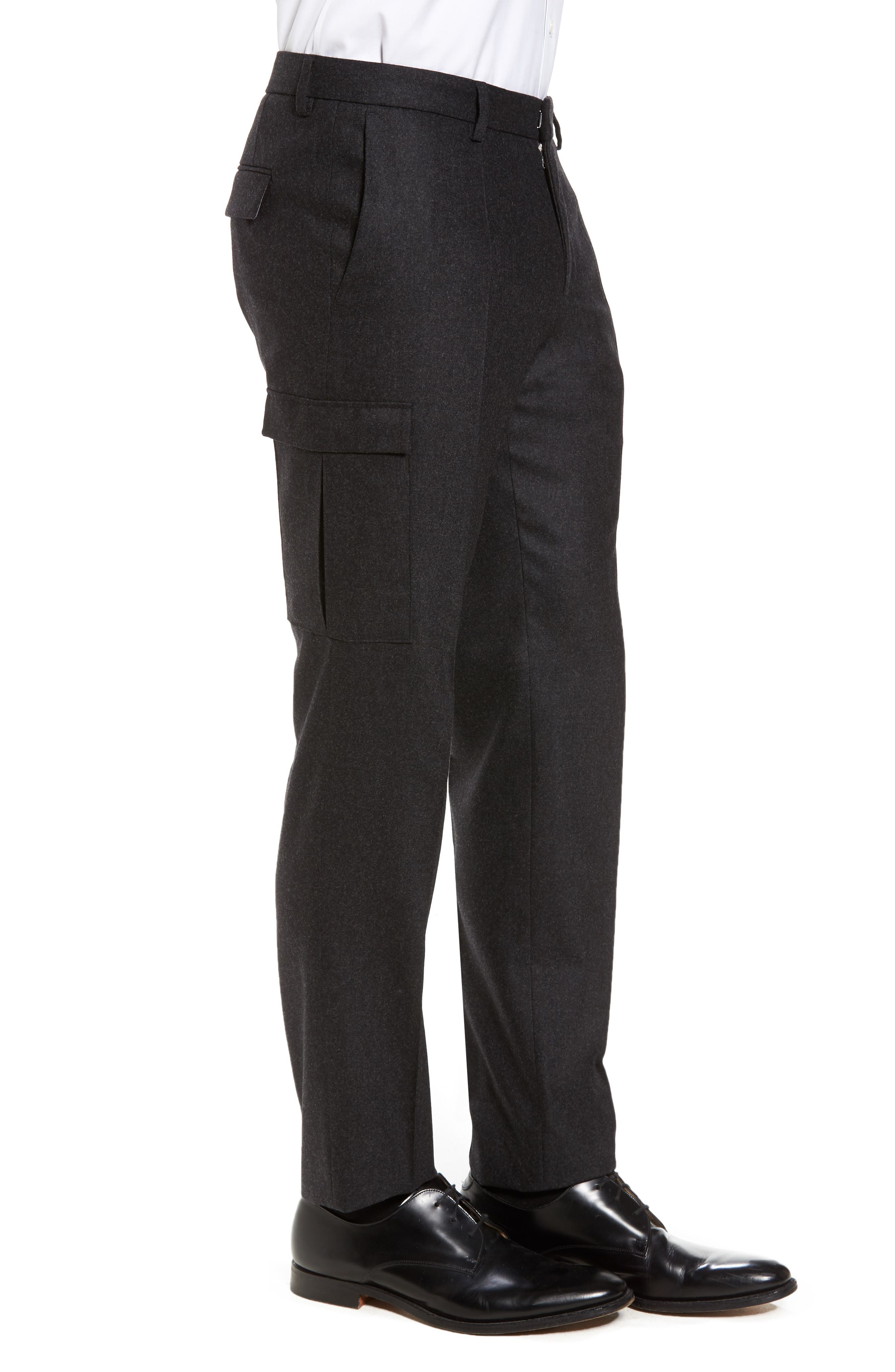 Balour Flat Front Stretch Solid Wool & Cashmere Cargo Trousers,                             Alternate thumbnail 3, color,                             Dark Grey