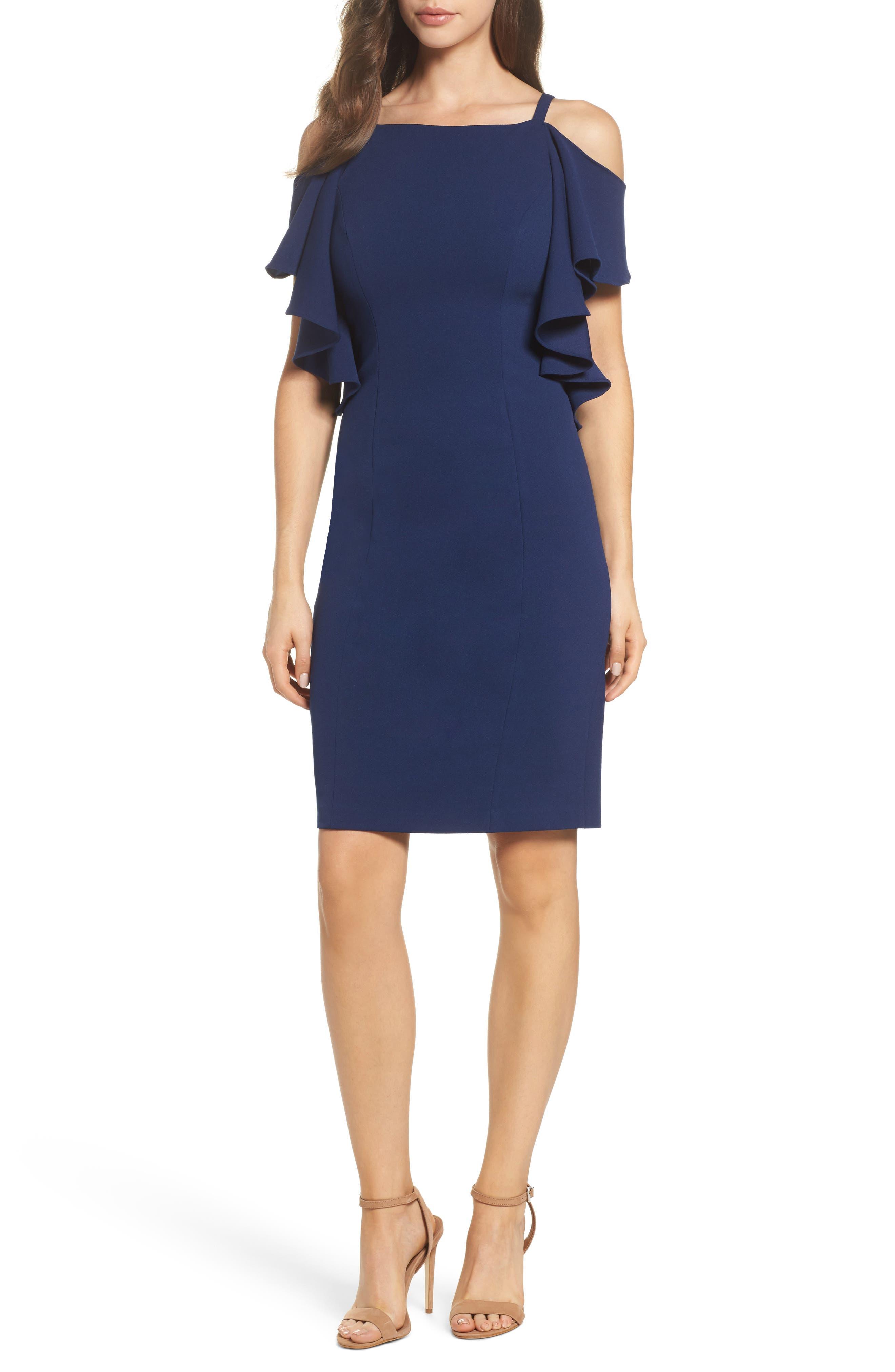 Cold Shoulder Sheath Dress,                             Main thumbnail 1, color,                             Navy Sateen
