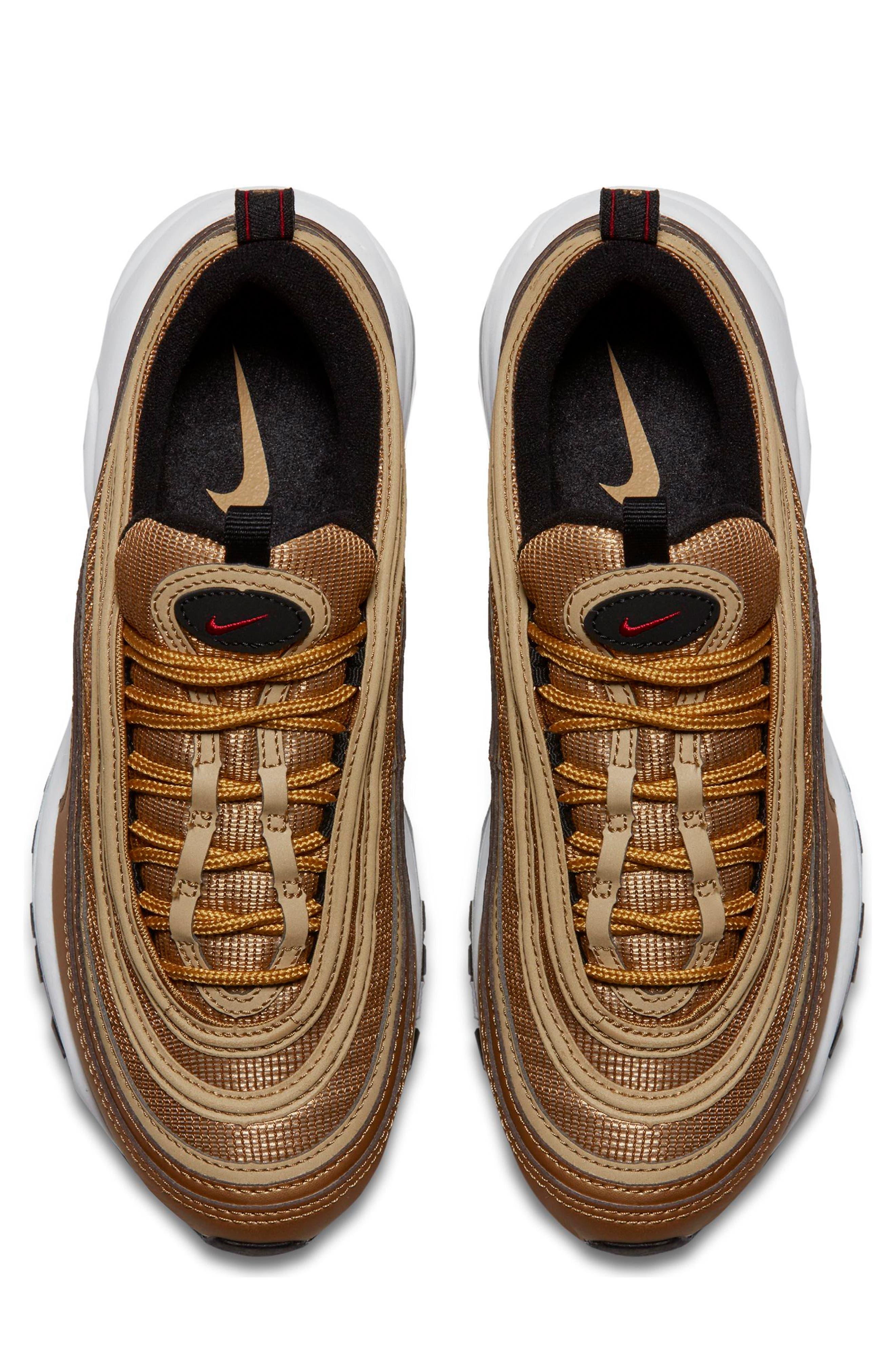 Air Max 97 OG Sneaker,                             Alternate thumbnail 4, color,                             Gold/ Red/ White/ Black