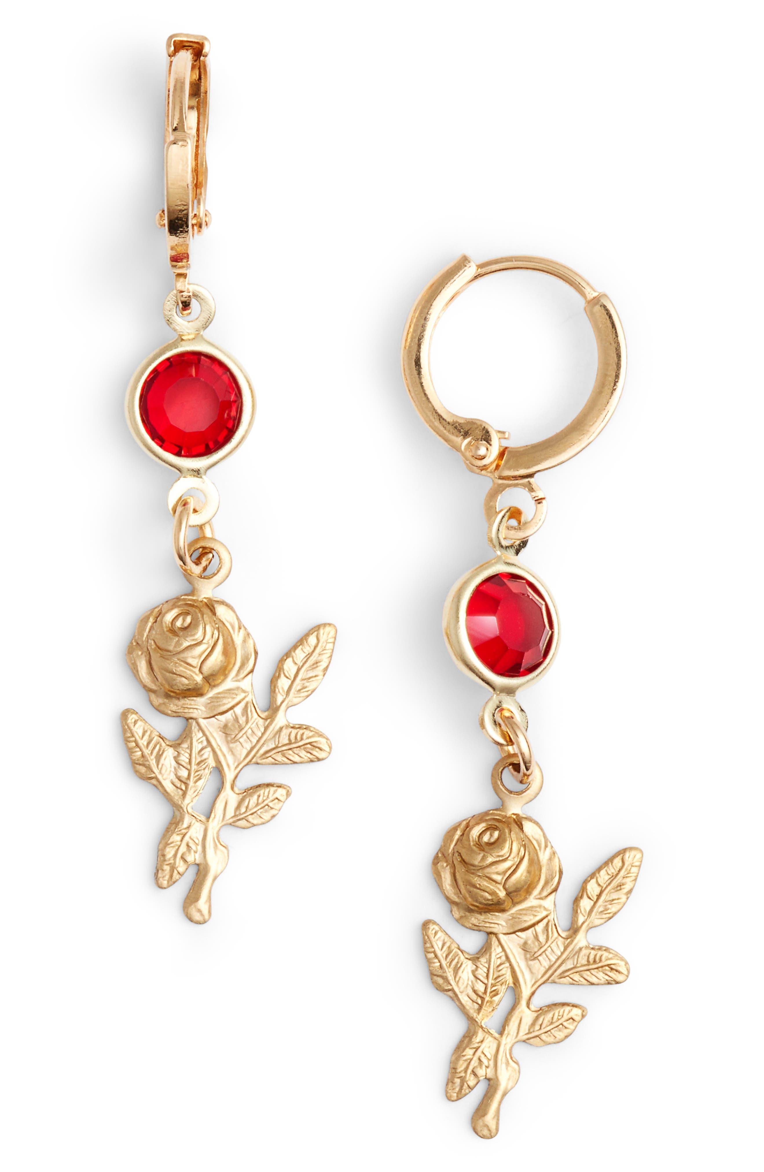 Rose Drop Earrings,                         Main,                         color, Gold