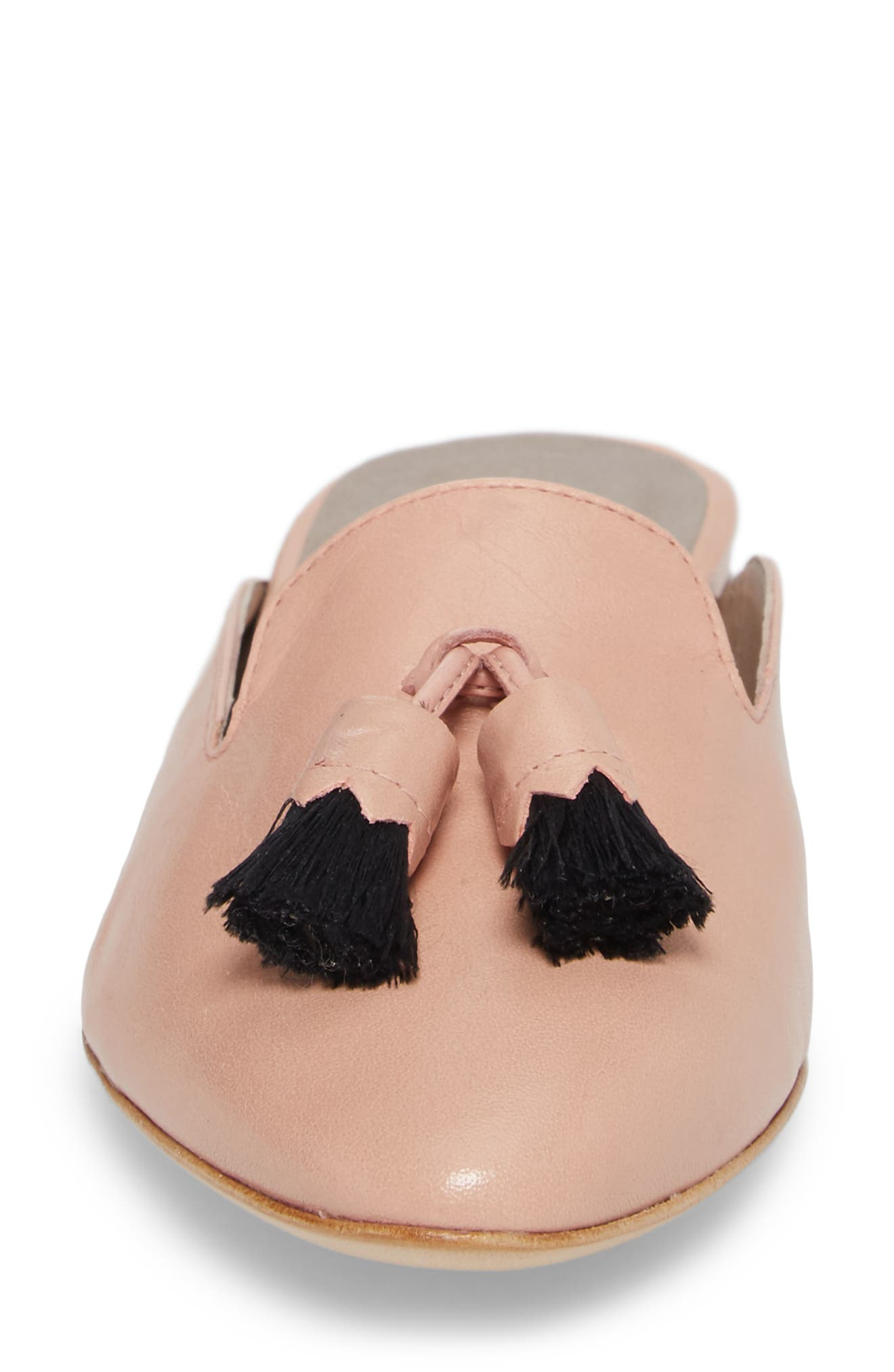Tassel Loafer Mule,                             Alternate thumbnail 4, color,                             Nude Pink Leather