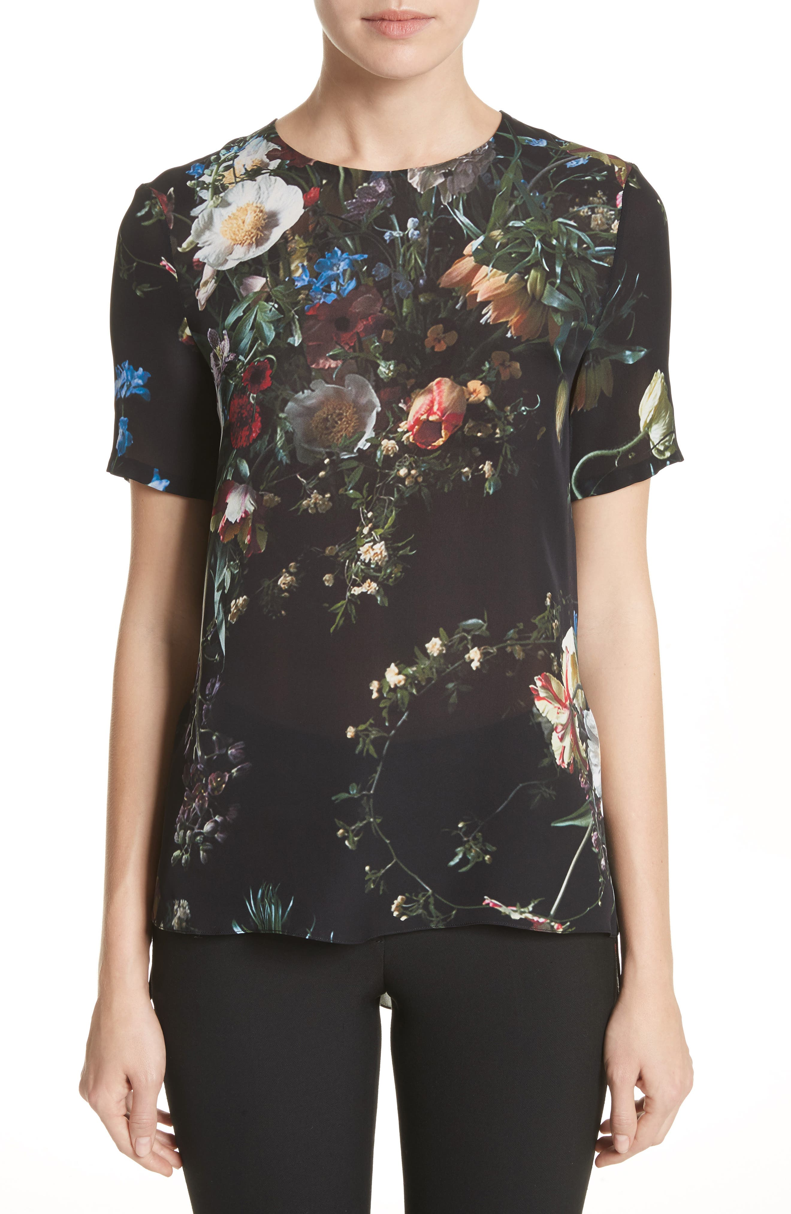 Floral Print Silk Tee,                             Main thumbnail 1, color,                             Black
