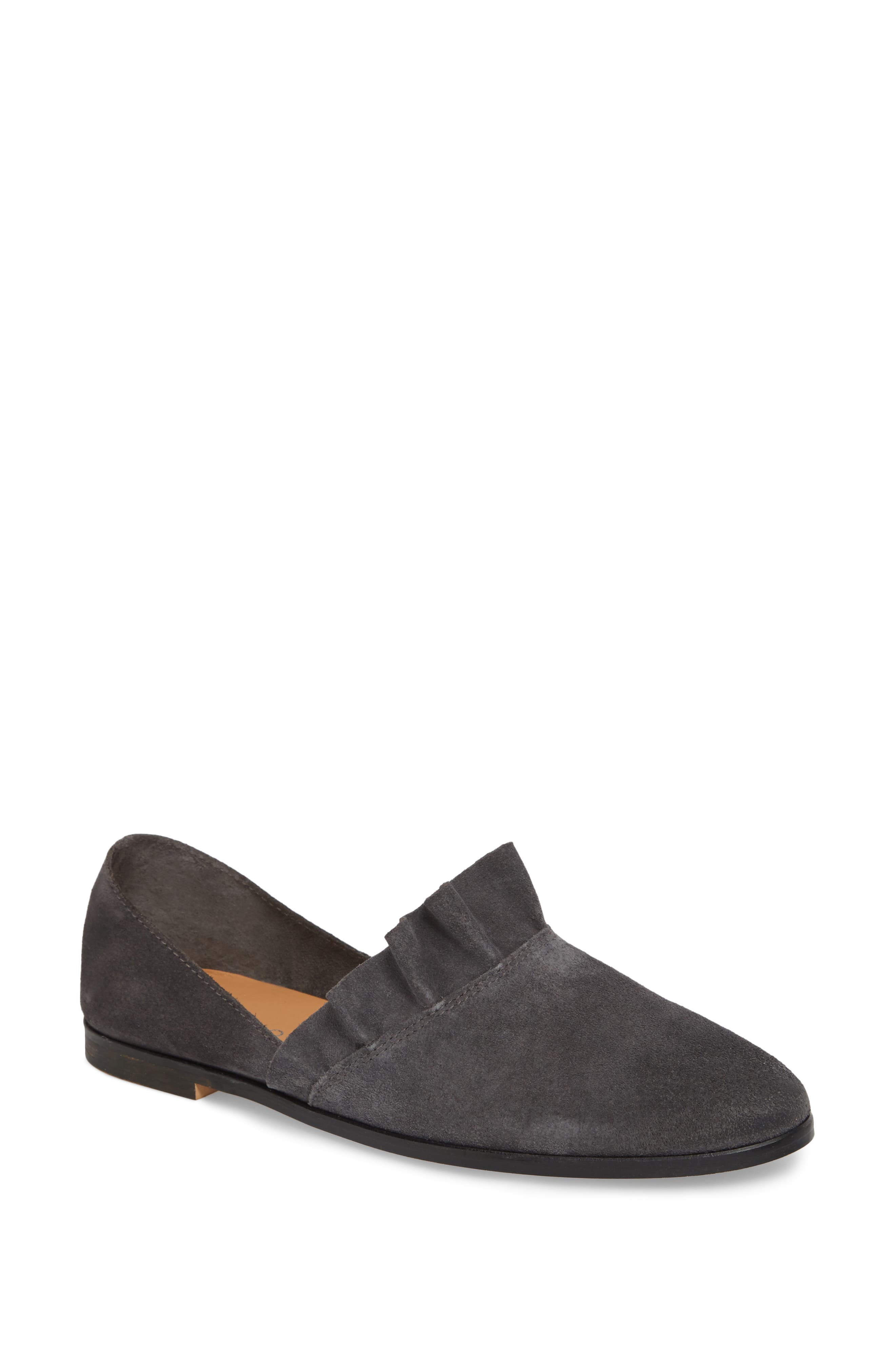 Gabbie Ruffle d'Orsay Flat,                             Main thumbnail 1, color,                             Ink Suede
