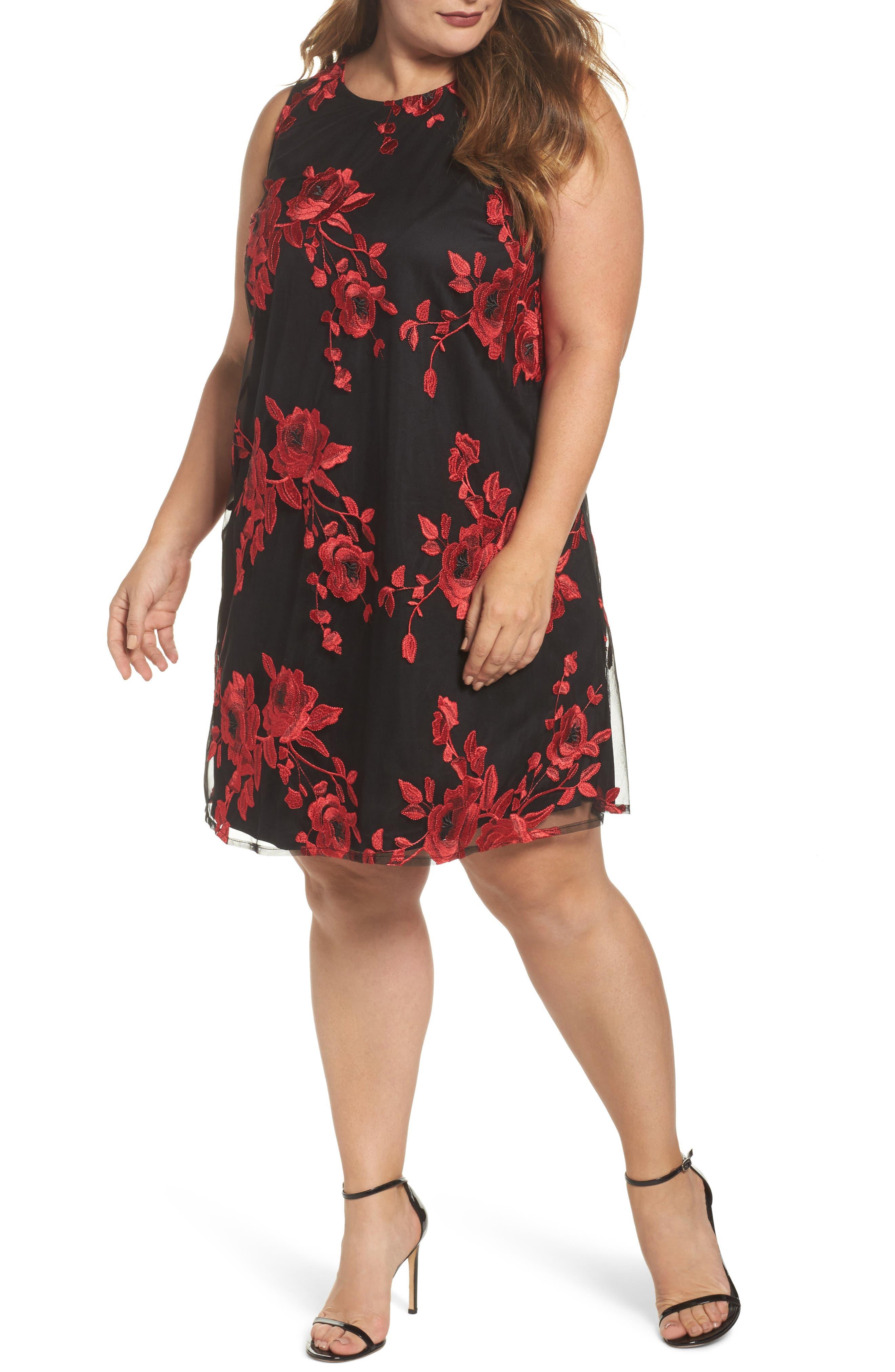 Main Image - ECI Embroidered A-Line Dress (Plus Size)