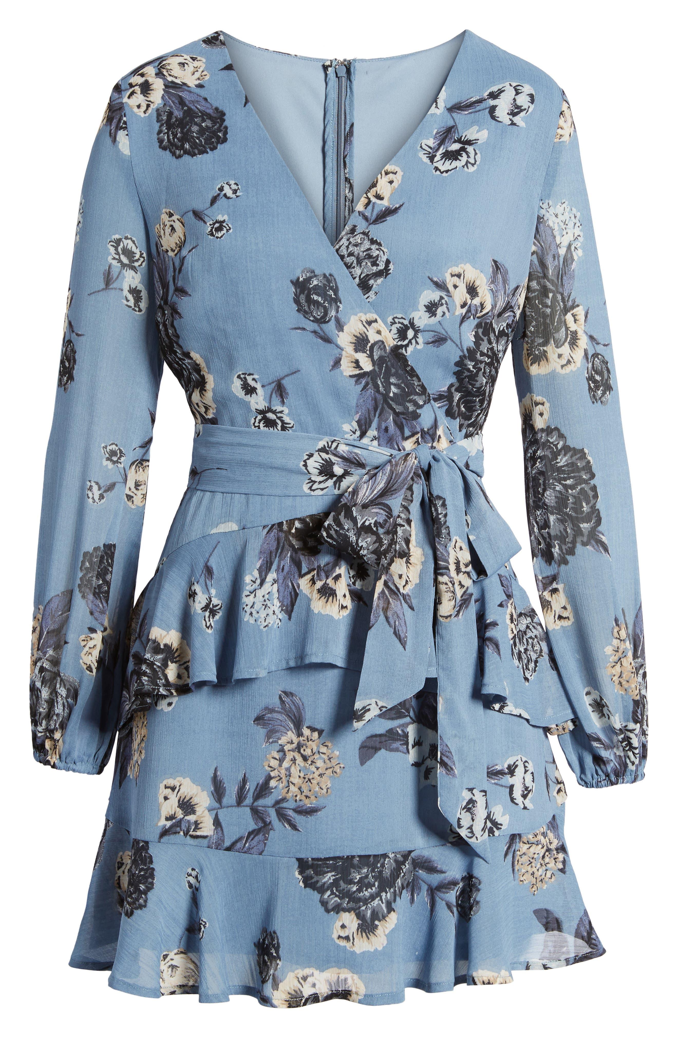 Floral Wrap Style Dress,                             Alternate thumbnail 6, color,                             Blue Print