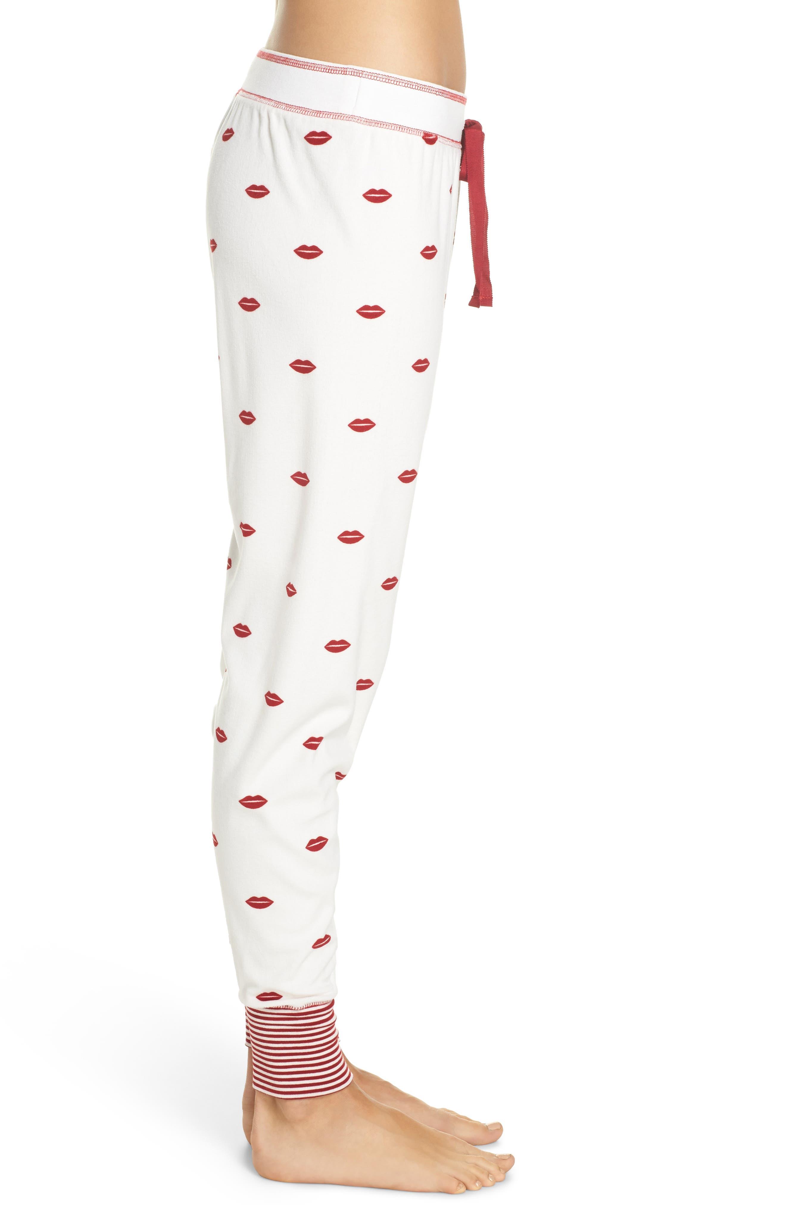 Lip Print Pajama Pants,                             Alternate thumbnail 3, color,                             Natural