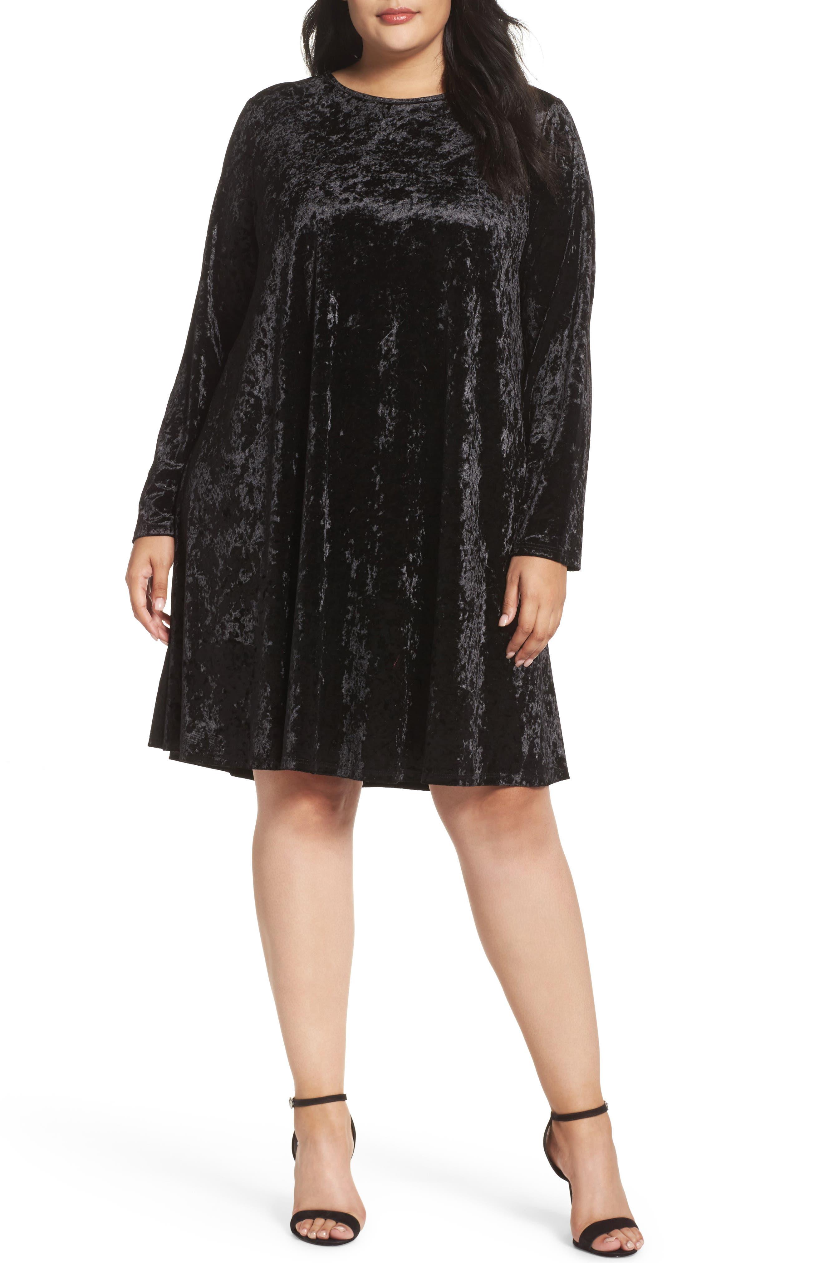 Velvet Shift Dress,                             Main thumbnail 1, color,                             Black Velvet