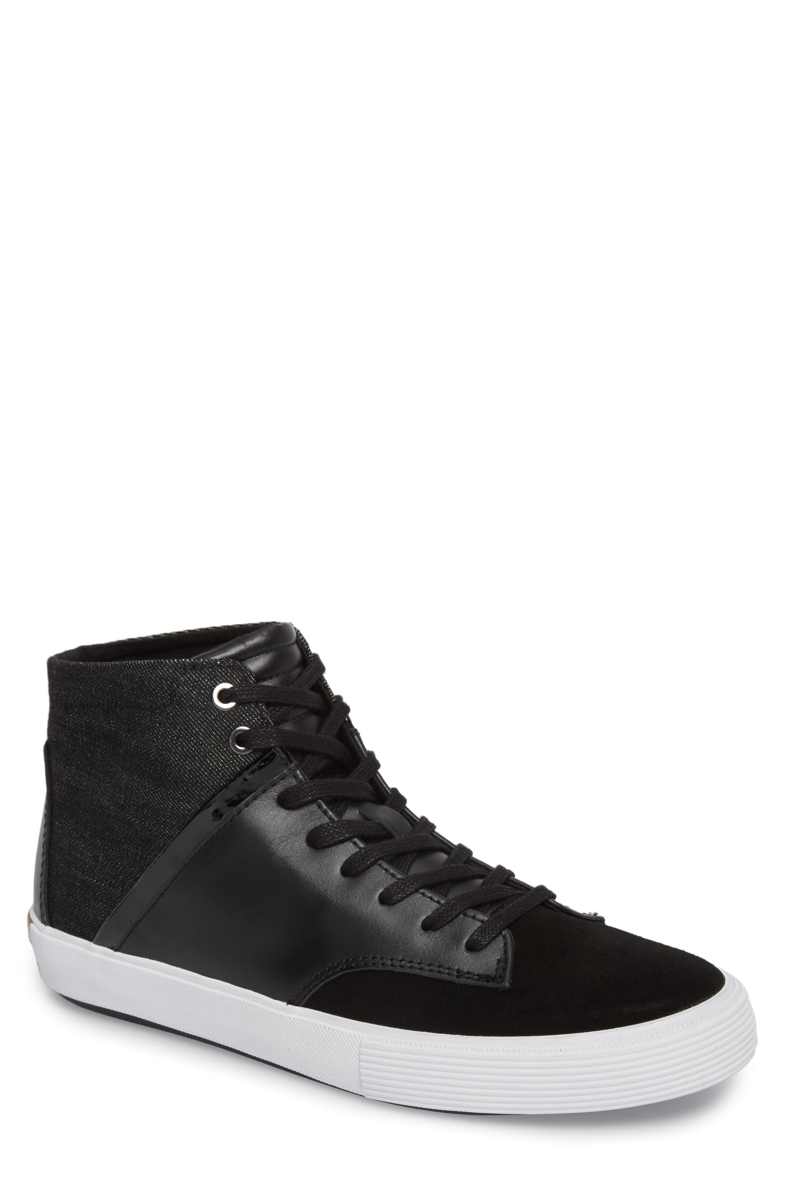 Joe Mac High Top Sneaker,                             Main thumbnail 1, color,                             Black Leather