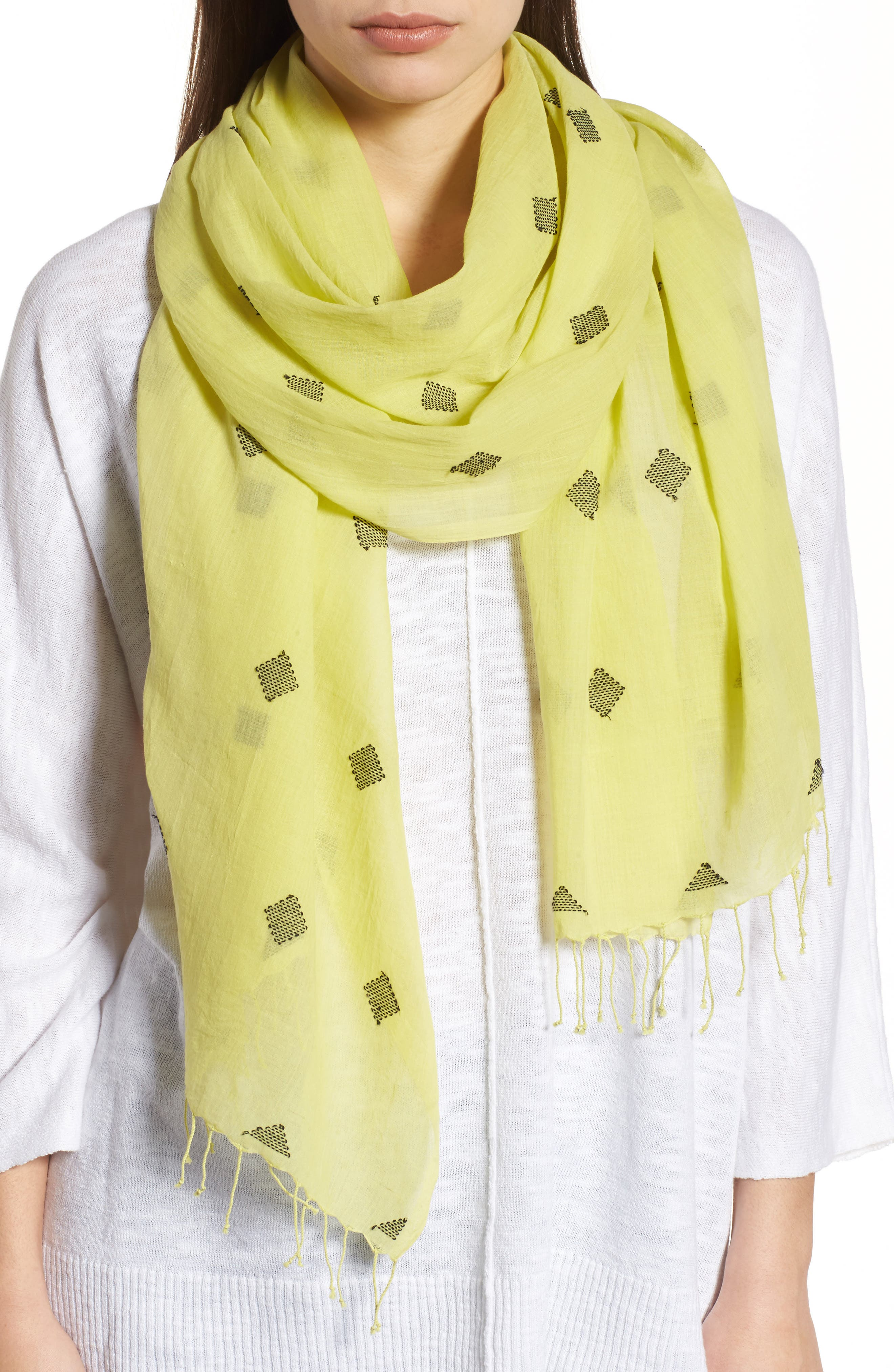 Main Image - Eileen Fisher Diamond Weave Organic Cotton Scarf
