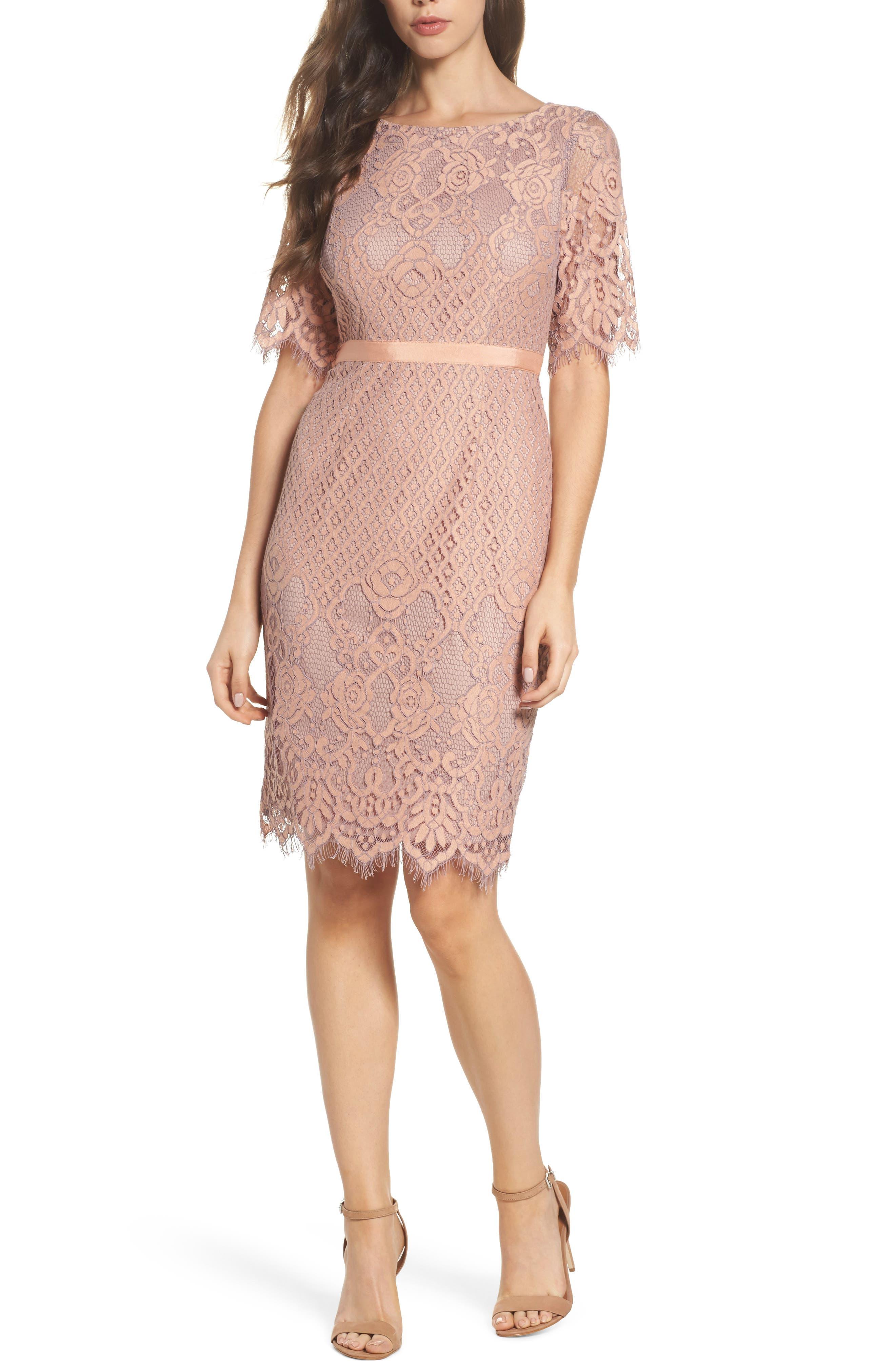 Lace Sheath Dress,                         Main,                         color, Peach/ Lilac
