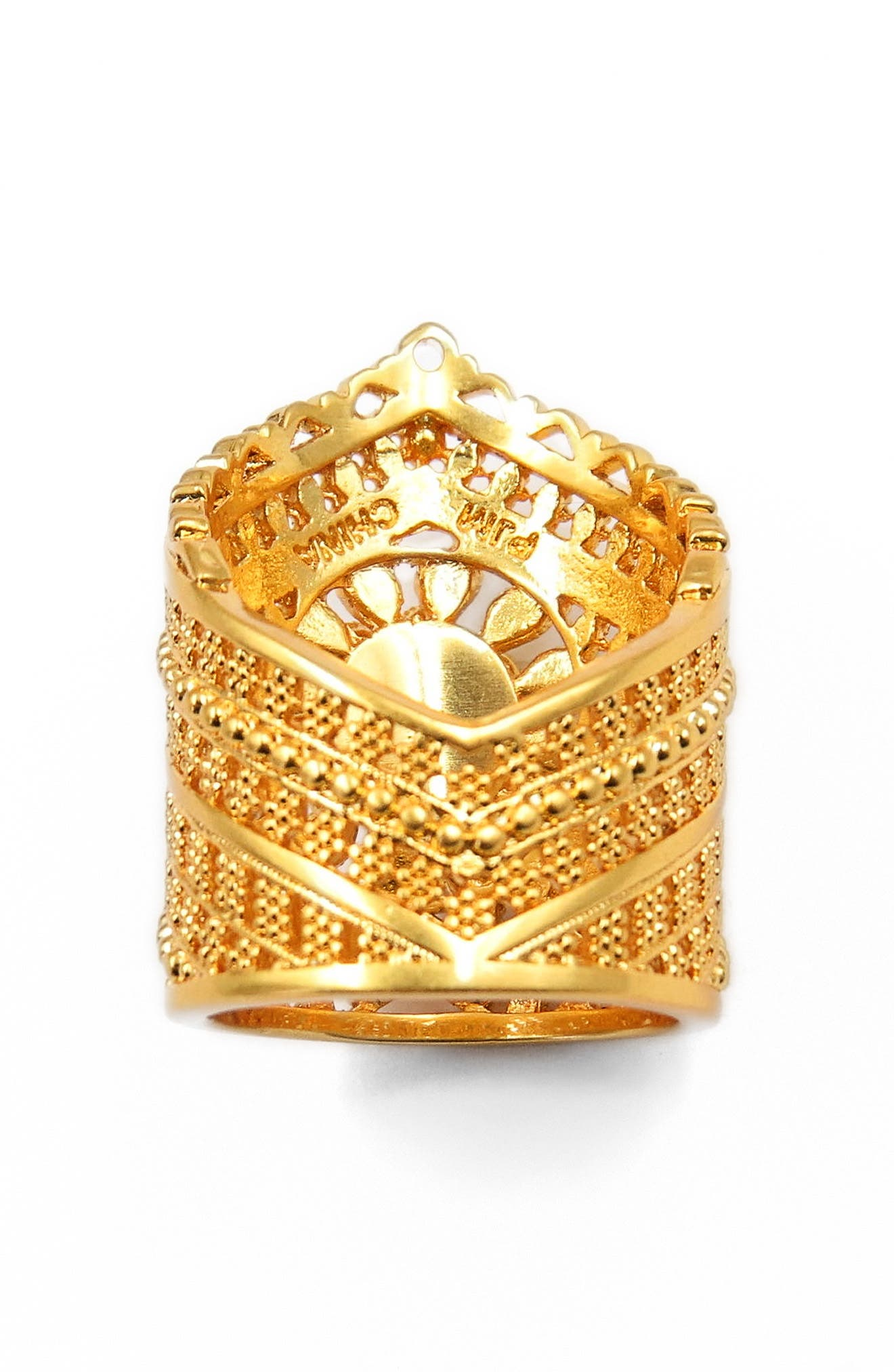 FIligree Crown Ring,                             Alternate thumbnail 2, color,                             Gold