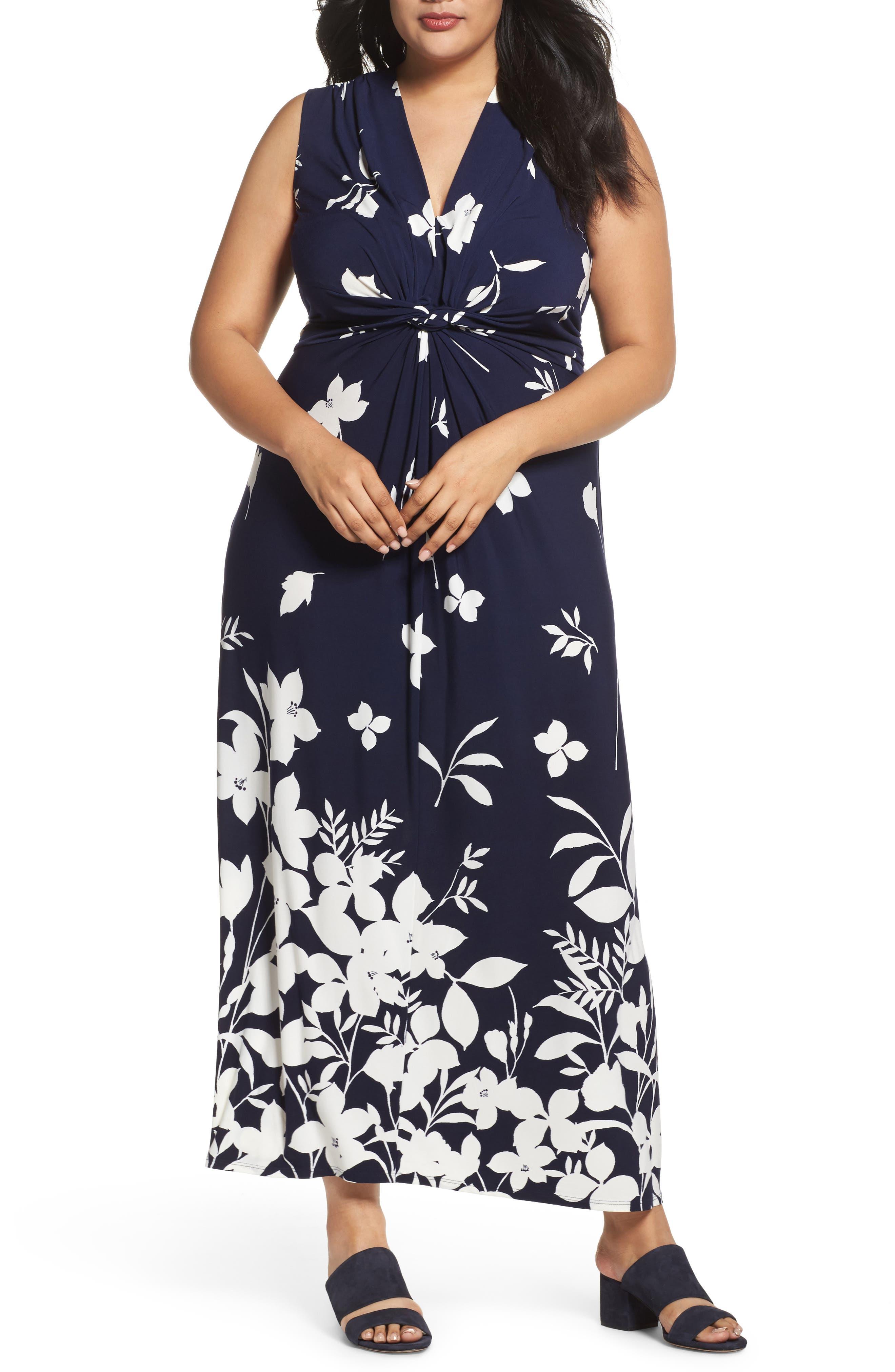 Sleeveless Knot Detail Maxi Dress,                         Main,                         color, Navy/ Ivory