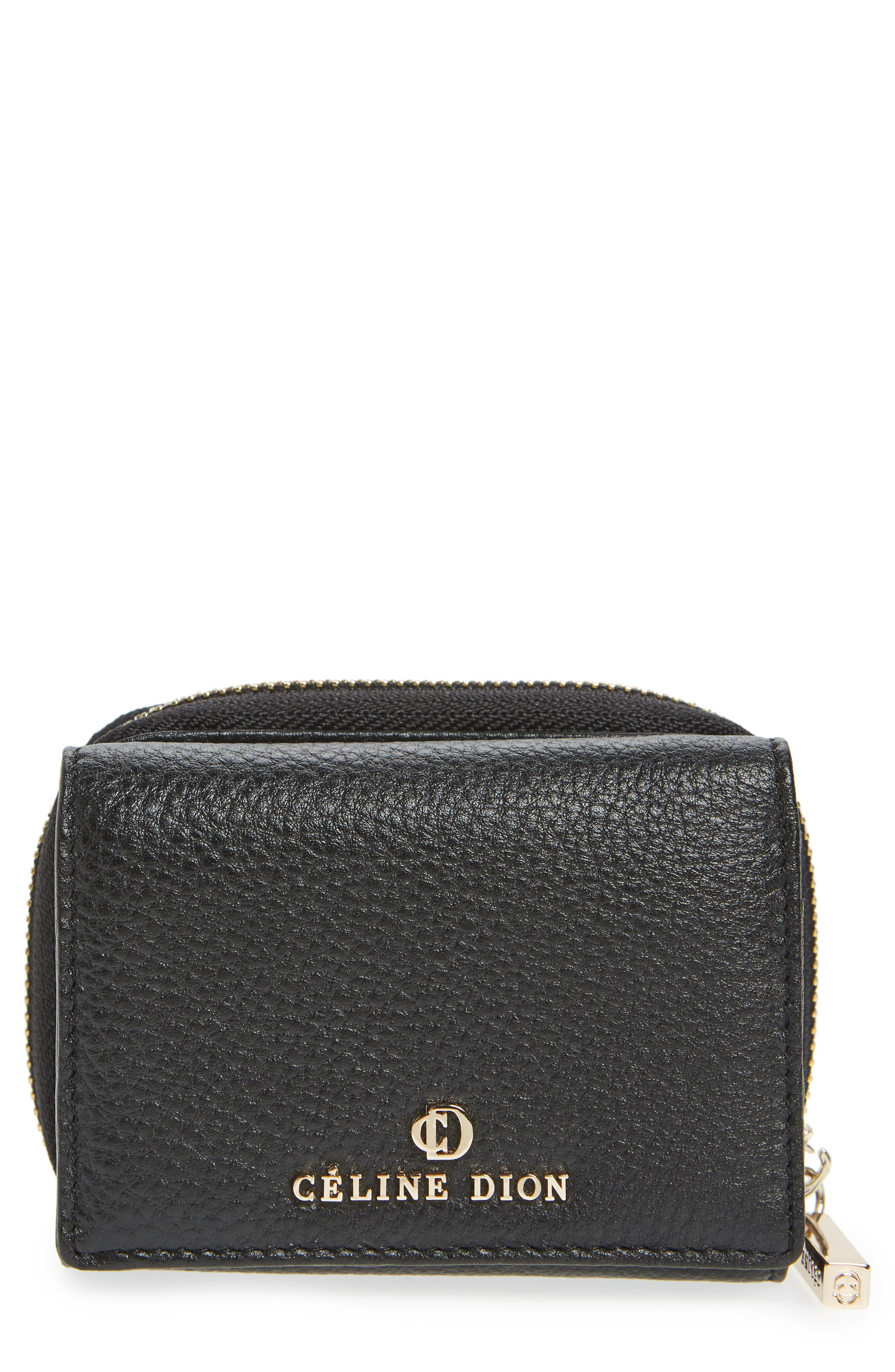 Céline Dion Small Adagio Leather Wallet,                         Main,                         color, Black