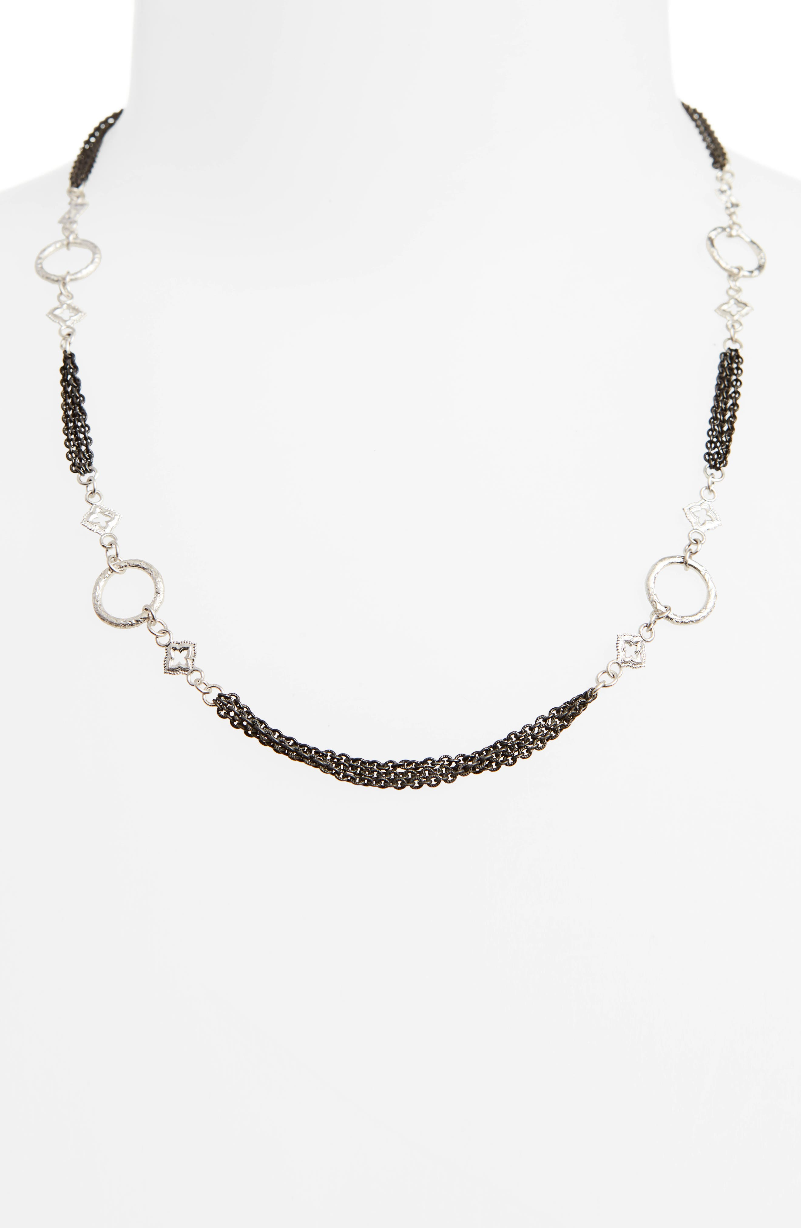 New World Multistrand Collar Necklace,                         Main,                         color, Silver