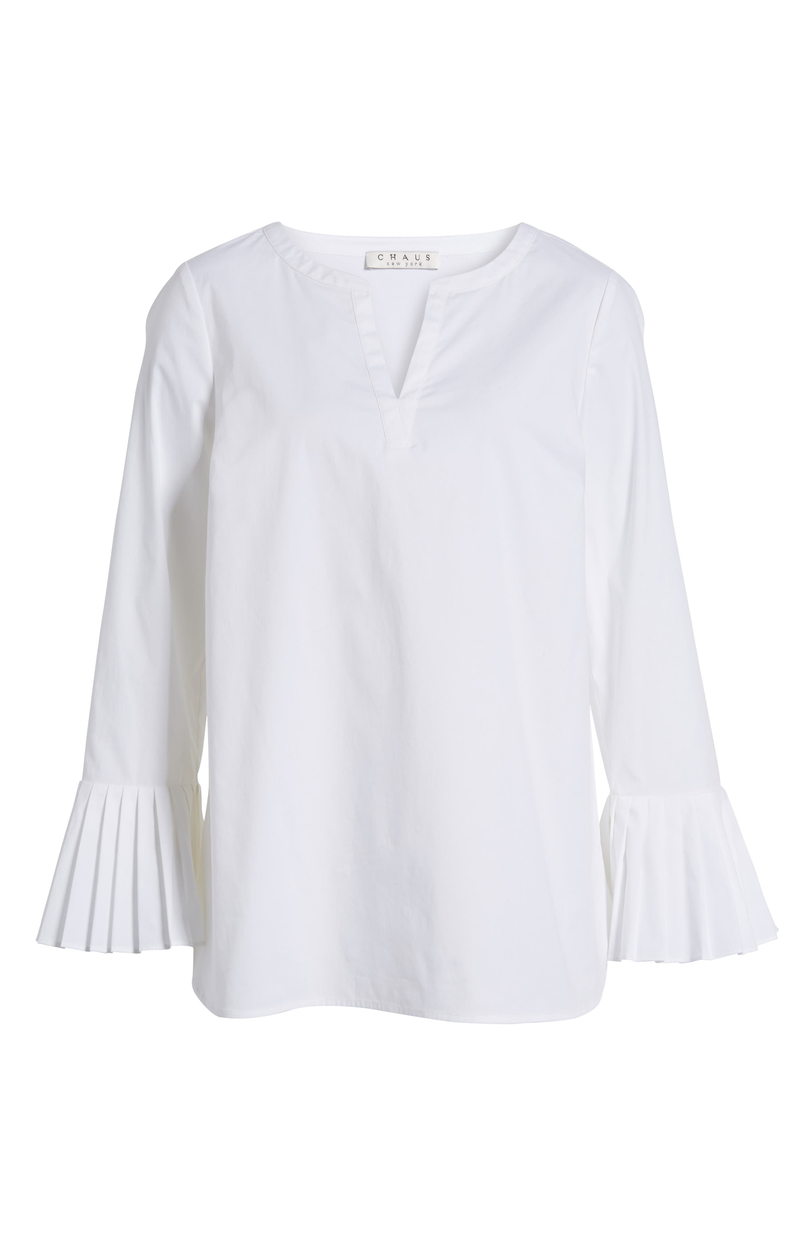 Alternate Image 6  - Chaus Pleat Sleeve Shirttail Blouse
