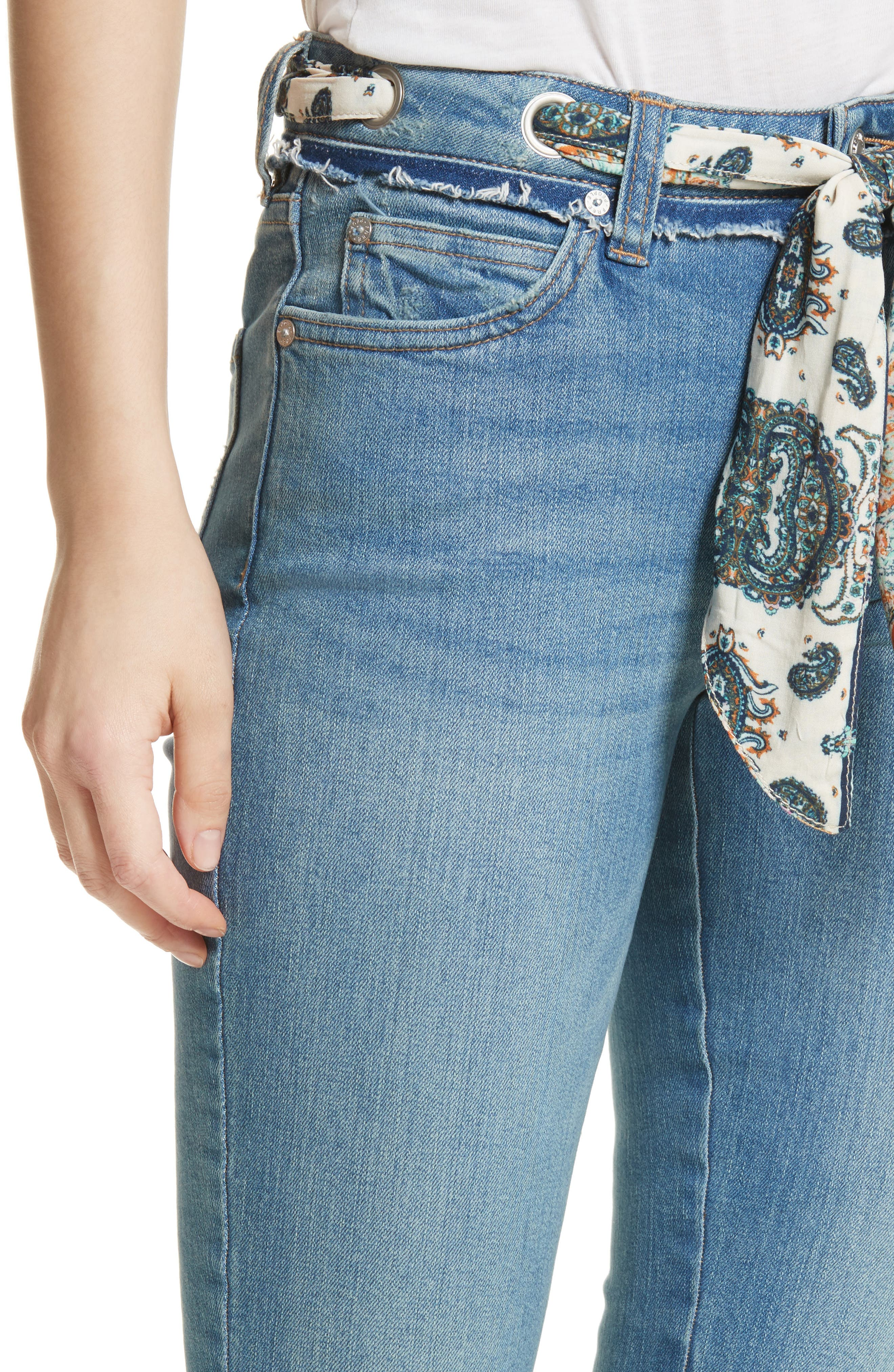 Alternate Image 4  - Free People Belt Out High Waist Crop Bootcut Jeans