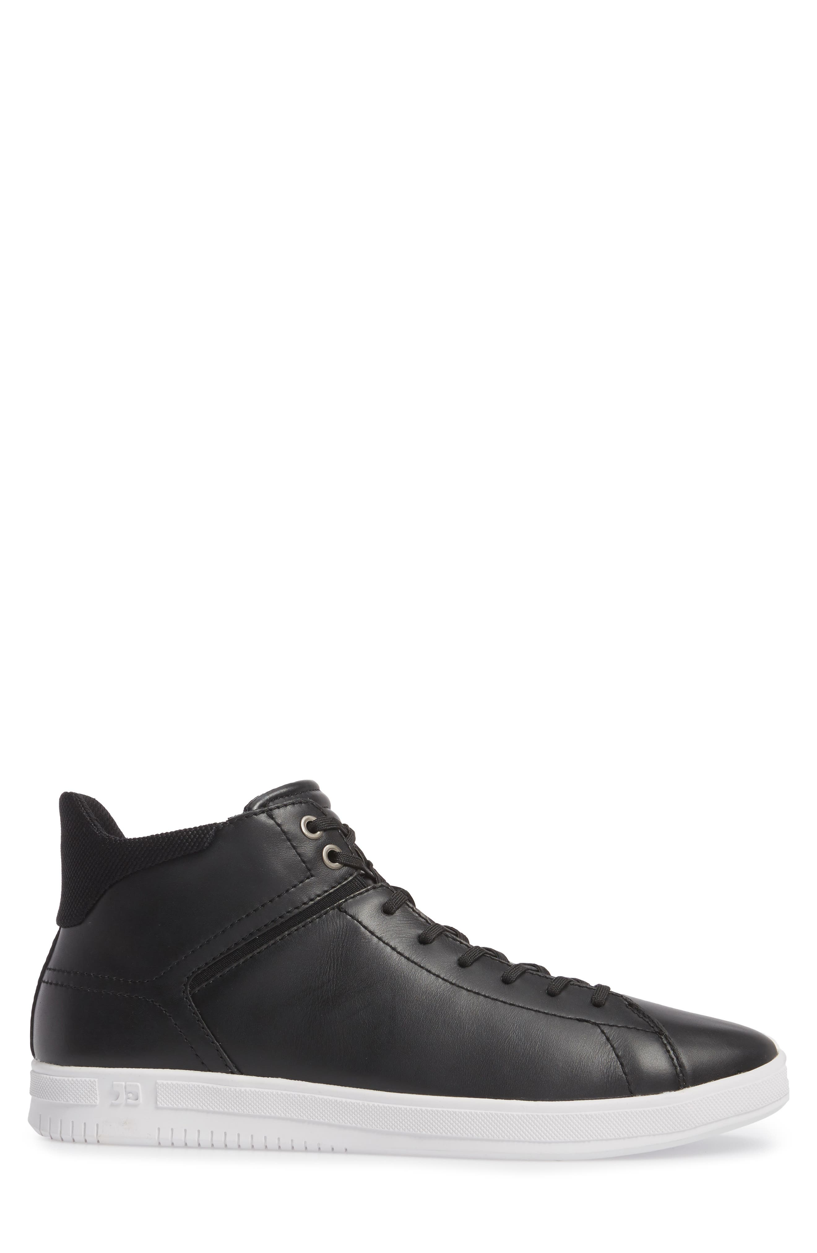 Joe Z Mid Top Sneaker,                             Alternate thumbnail 3, color,                             Black Leather