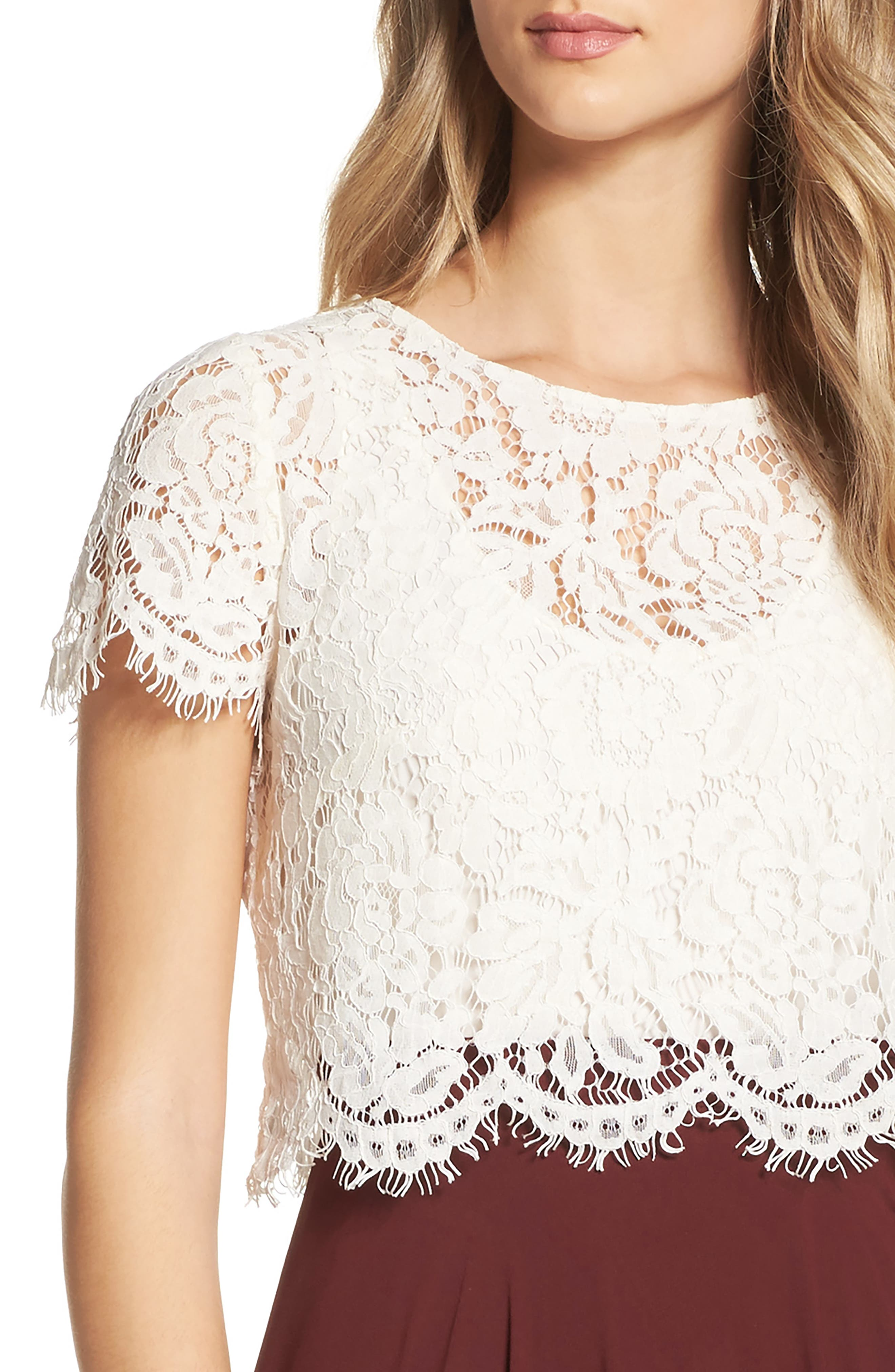 Kenzie Lace Crop Top,                         Main,                         color, Ivory