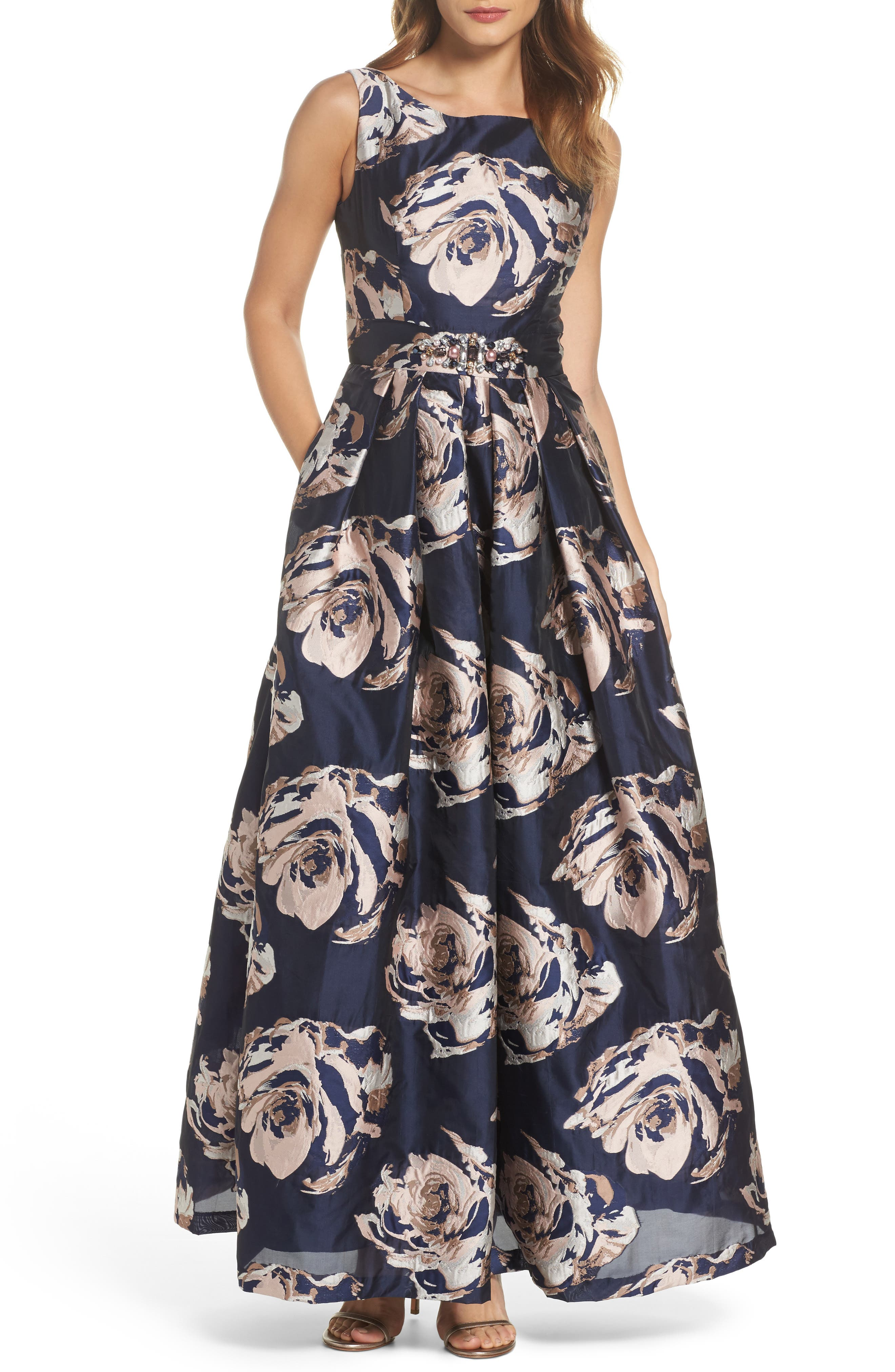 Embellished Floral Ballgown,                             Main thumbnail 1, color,                             Navy