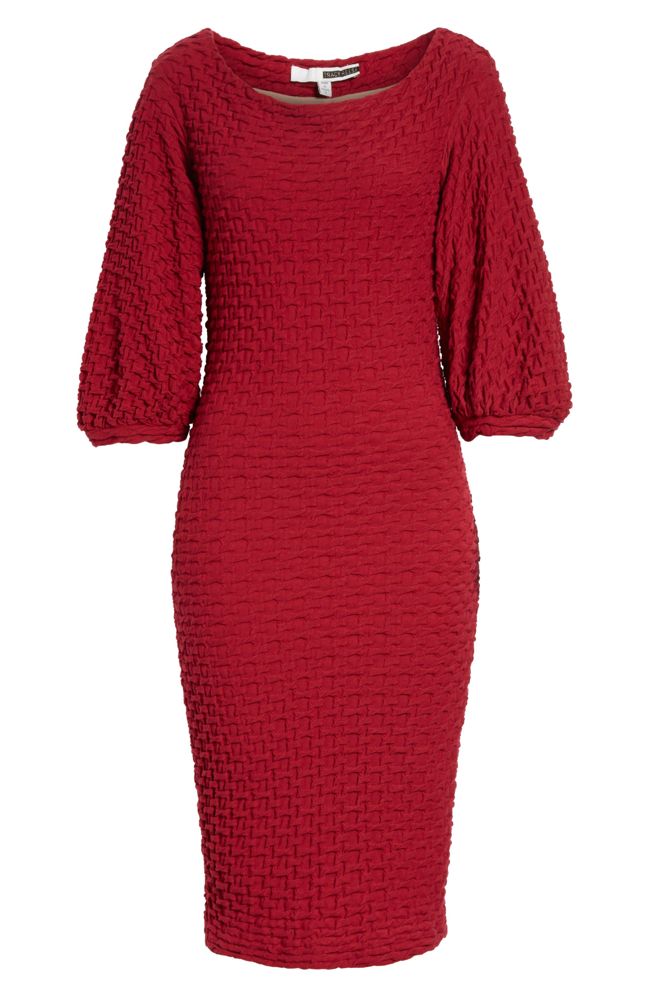 Basket Weave Balloon Sleeve Dress,                             Alternate thumbnail 6, color,                             Tibetan Red
