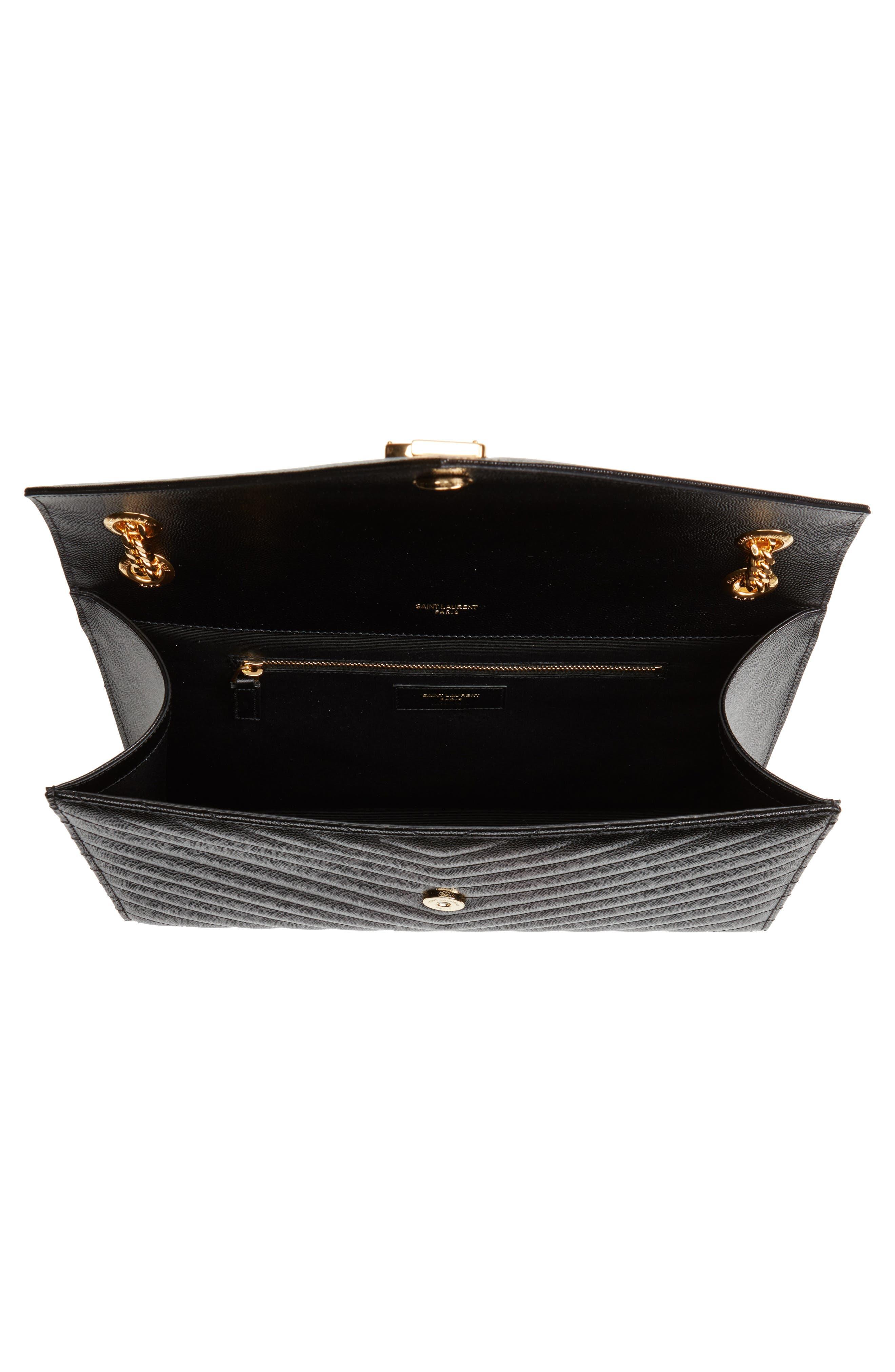 Medium Grained Matelassé Quilted Leather Shoulder Bag,                             Alternate thumbnail 4, color,                             Noir