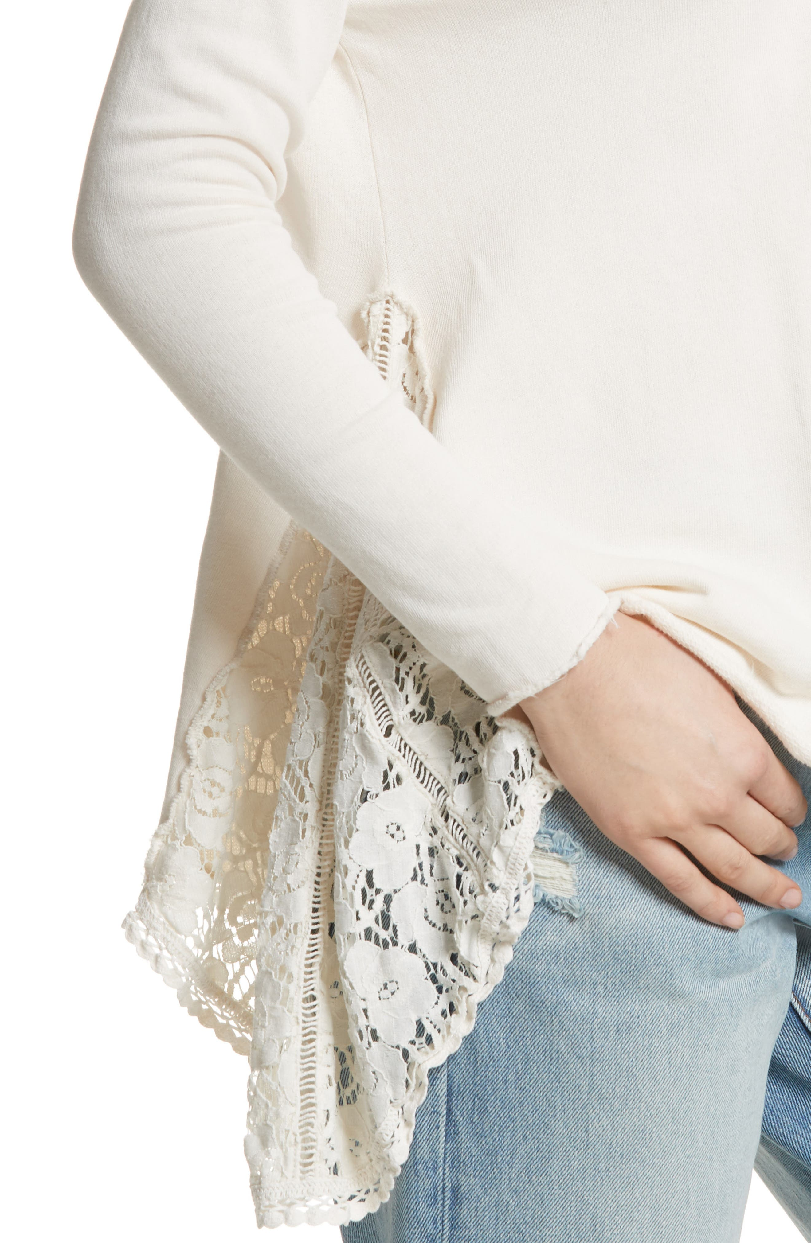 Alternate Image 4  - Free People No Frills Lace Inset Asymmetrical Top