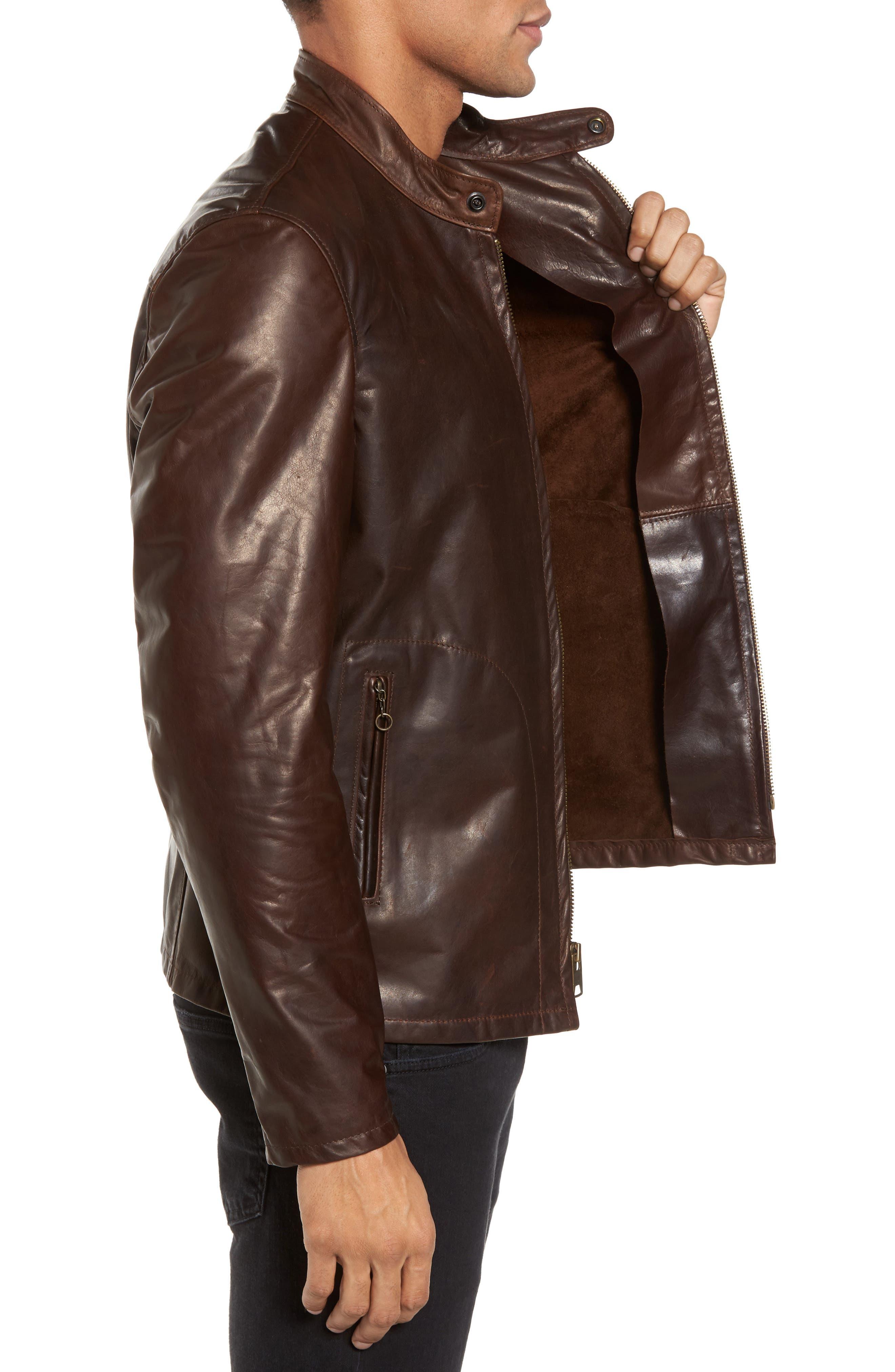 Café Racer Unlined Cowhide Leather Jacket,                             Alternate thumbnail 3, color,                             Brown