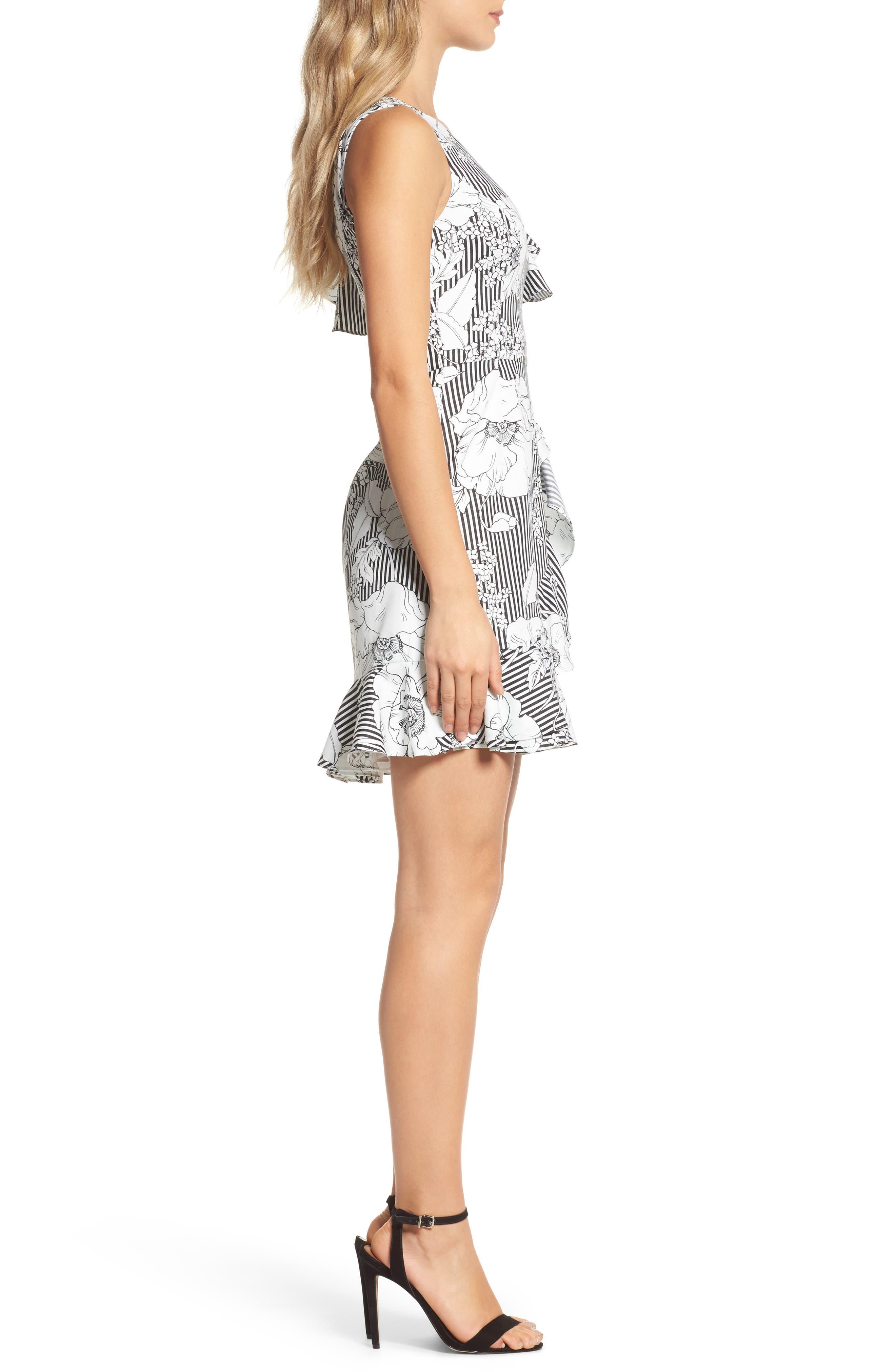 Floral Asymmetrical Ruffle Dress,                             Alternate thumbnail 3, color,                             Black White Floral