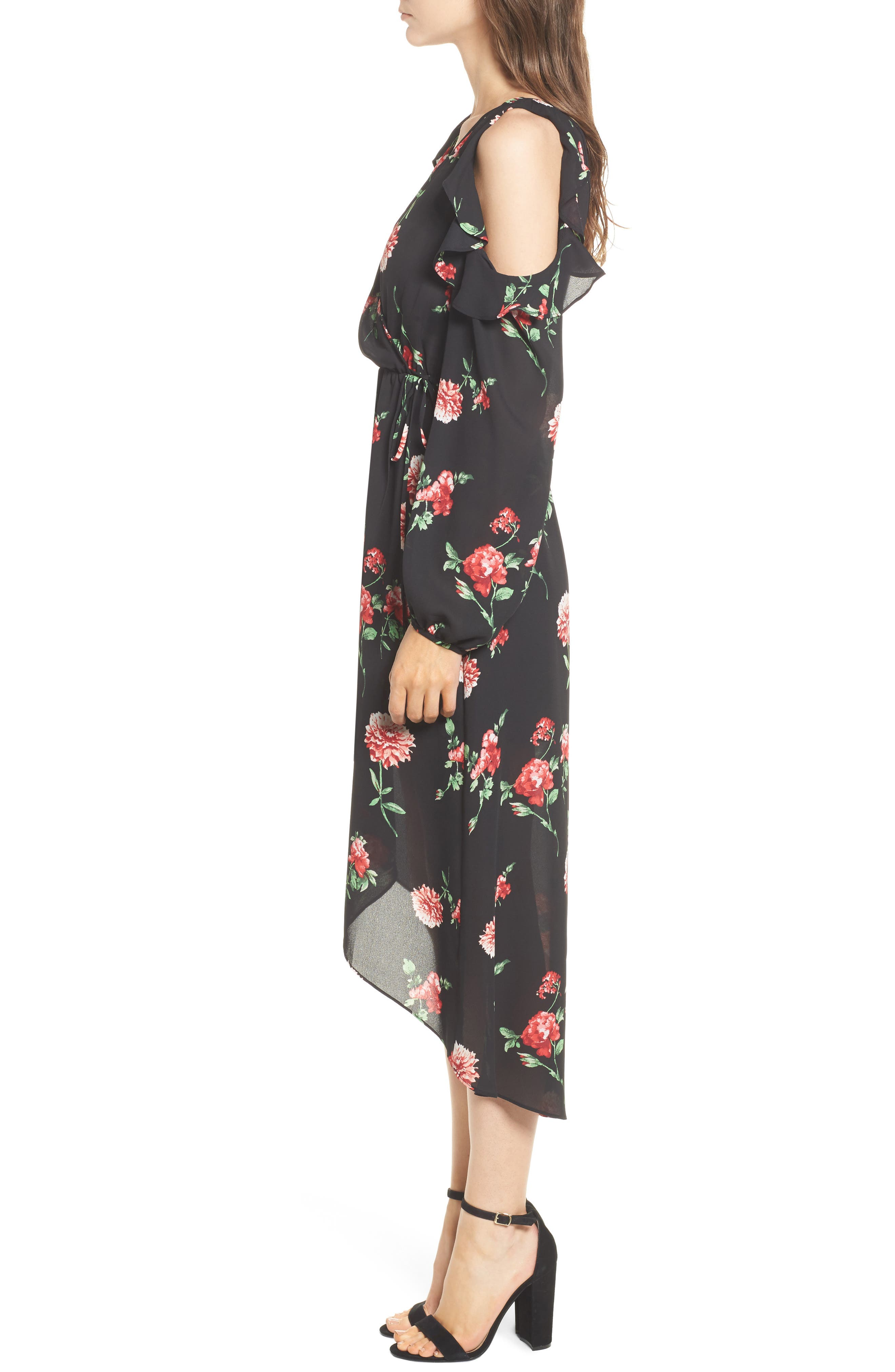 Ruffle Cold Shoulder Faux Wrap Dress,                             Alternate thumbnail 3, color,                             750 Black Red