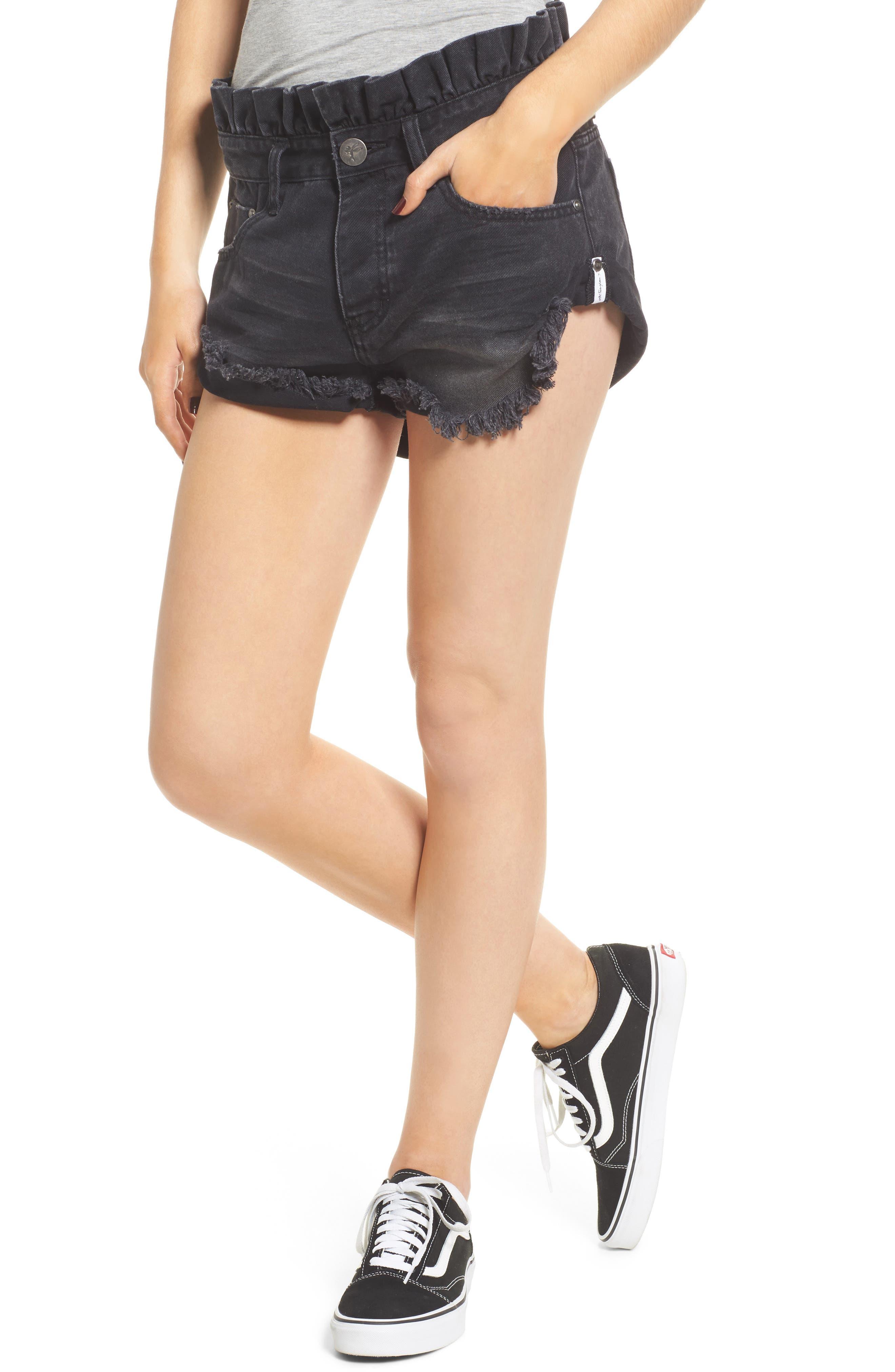One Teaspoon Le Bandits Denim Shorts (Black Anchor)